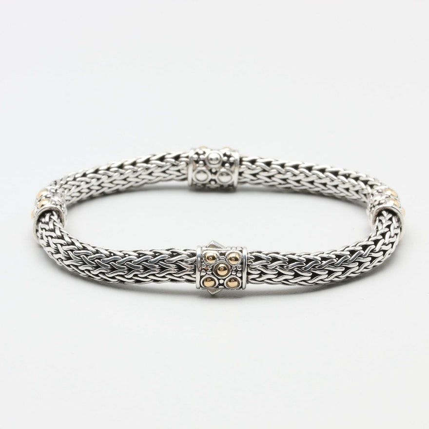 John Hardy Sterling Silver Bracelet With 18k Yellow Gold Accents