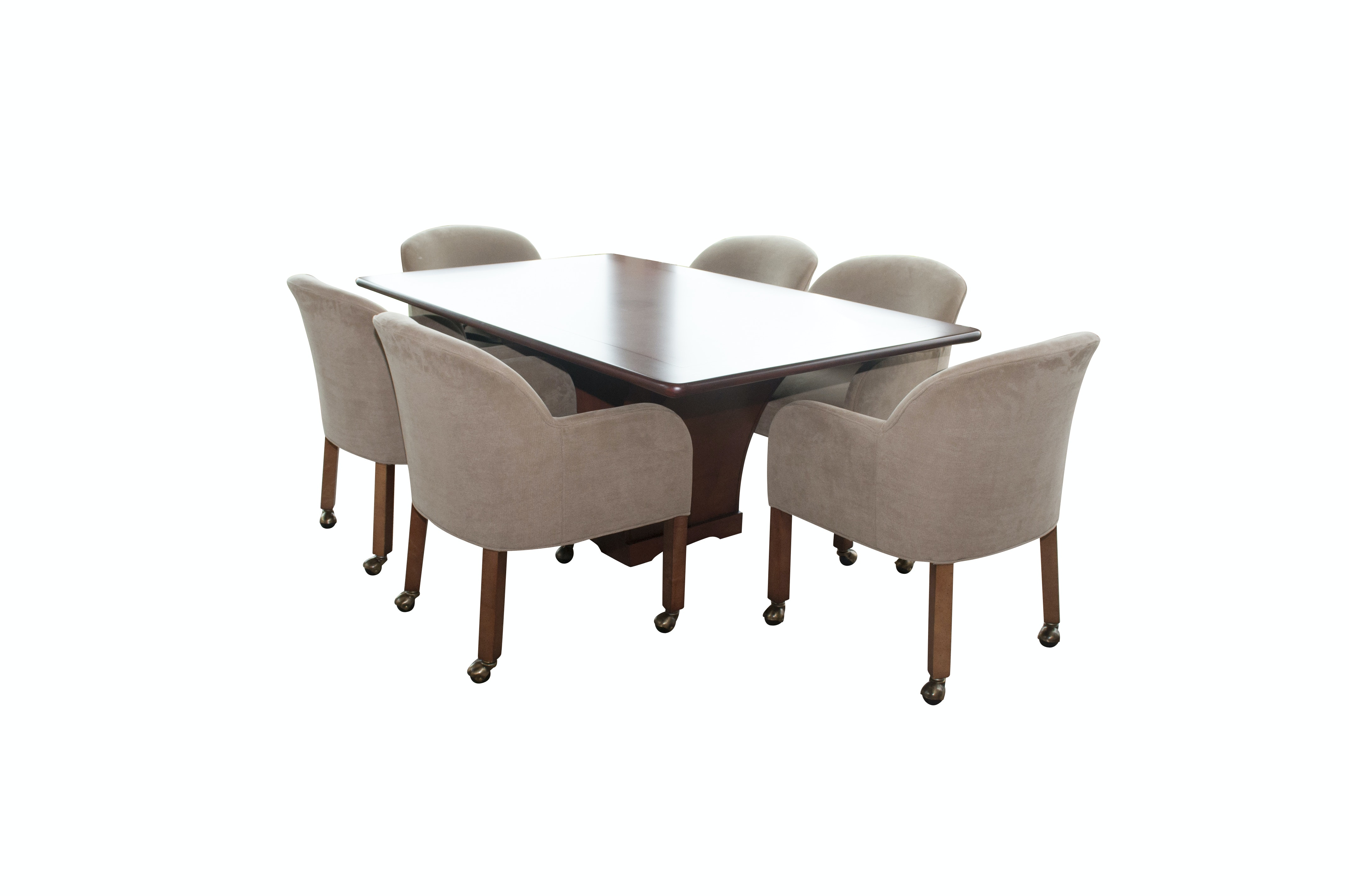 Modern Dining Table with Six Upholstered Chairs