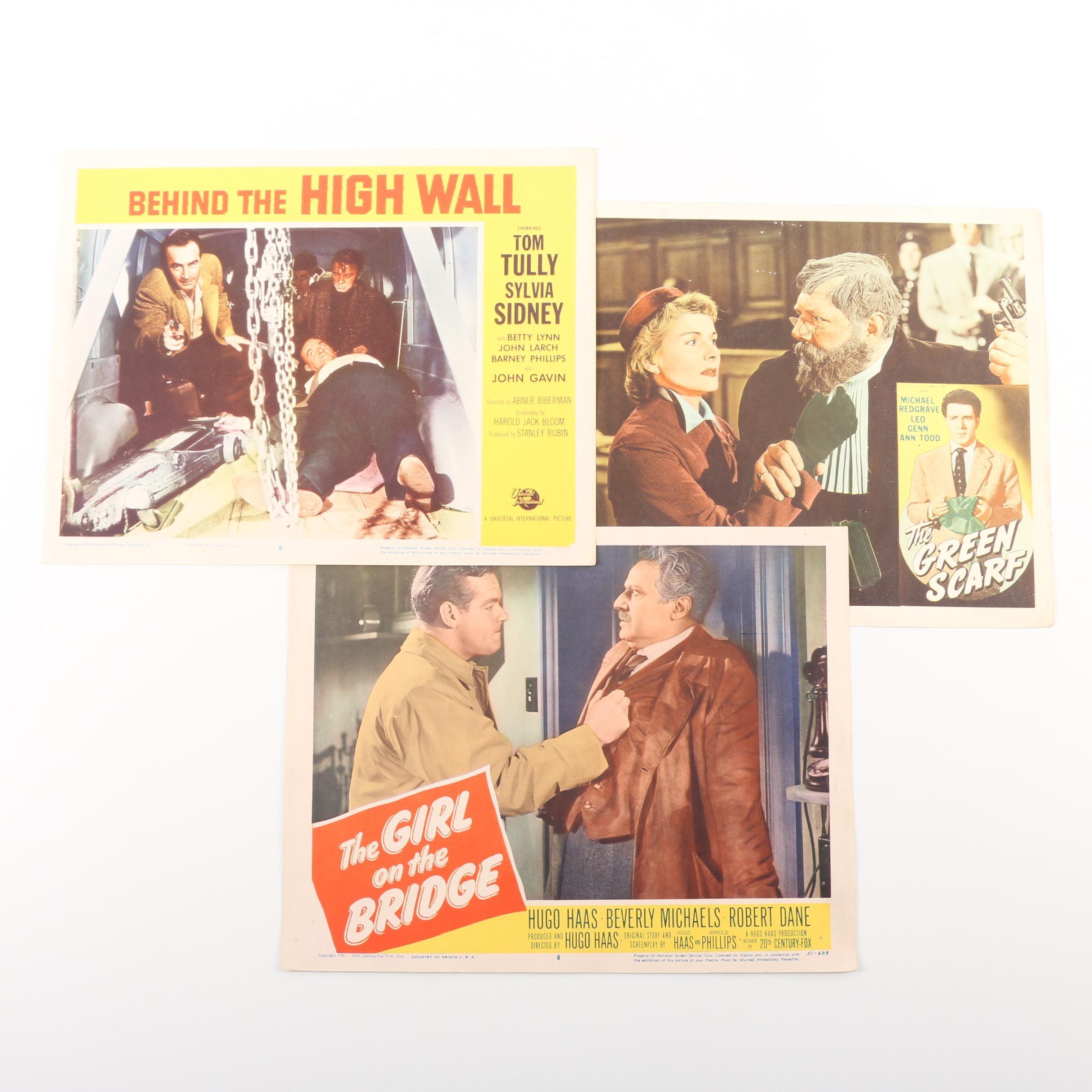 "1950s Lobby Cards including ""The Girl on the Bridge"""