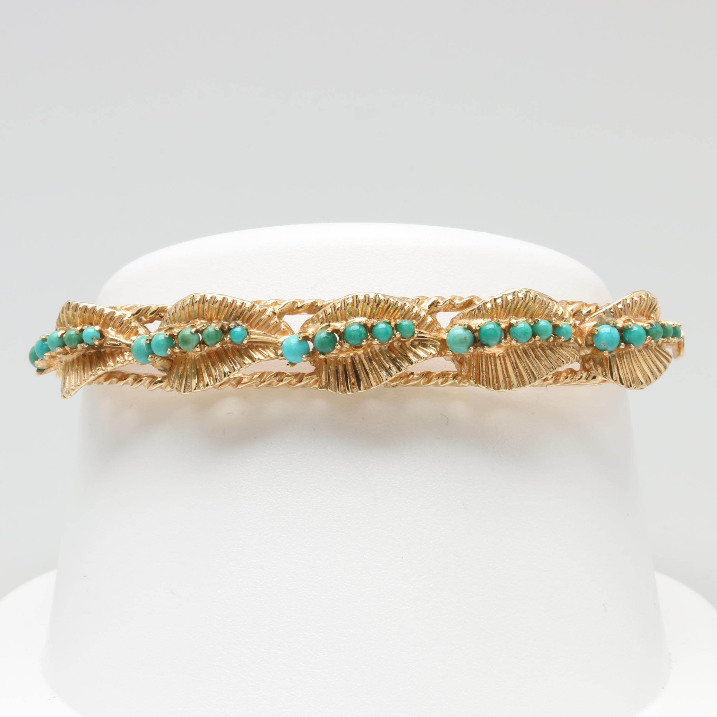 Vintage 14K Yellow Gold Turquoise Hinged Bracelet