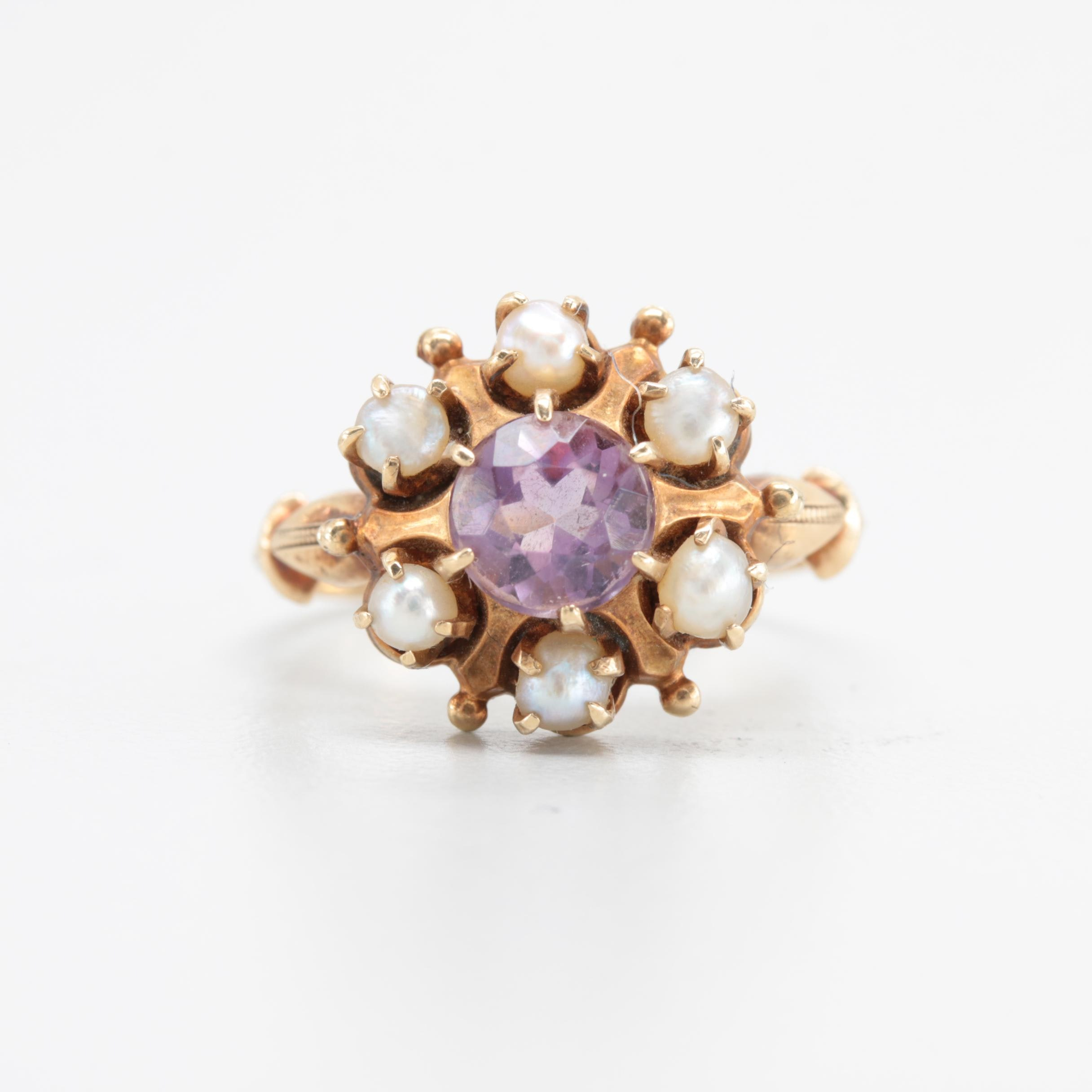 Antique 10K Yellow Gold Amethyst and Cultured Pearl Ring