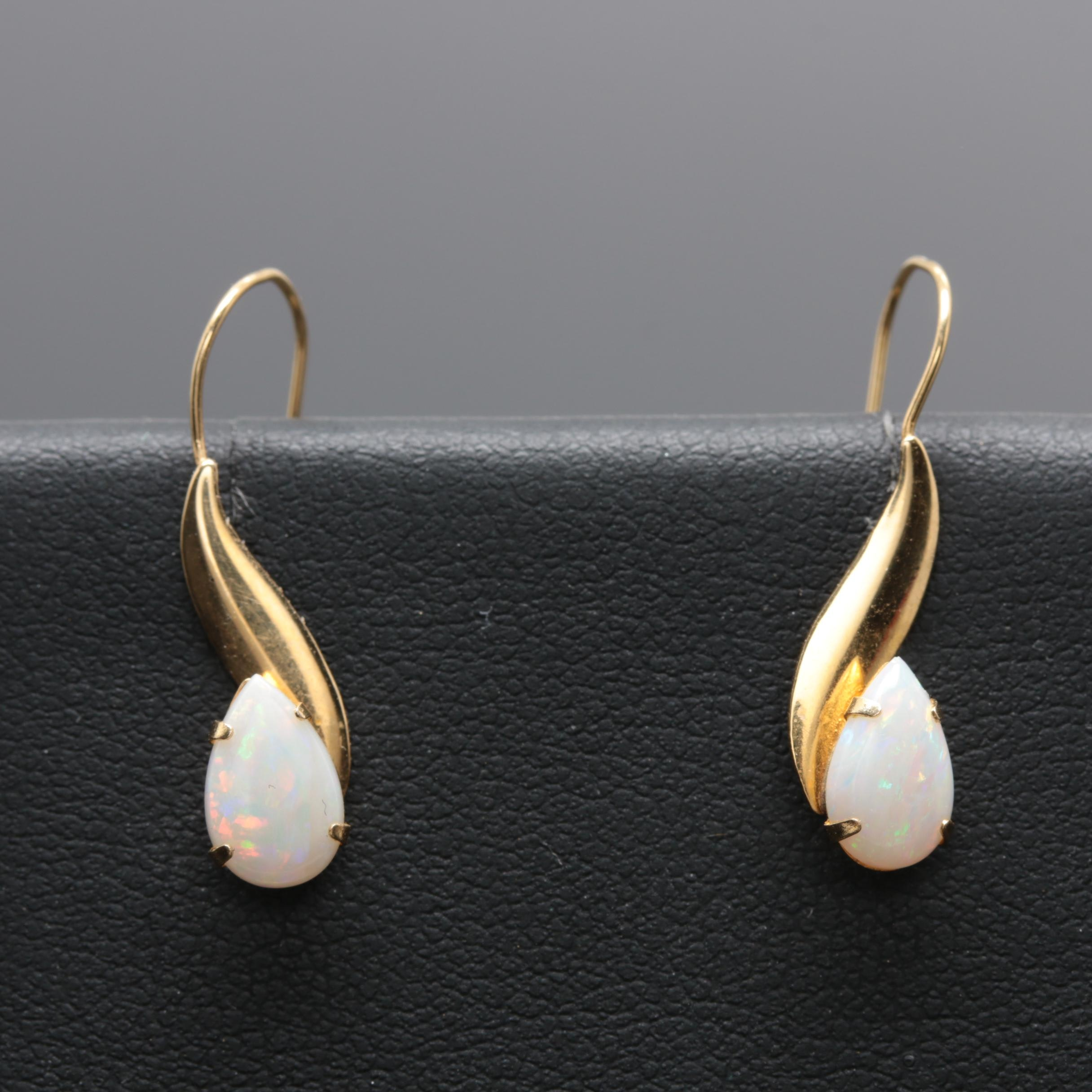 Opal Earrings with 14K Yellow Gold Earwires