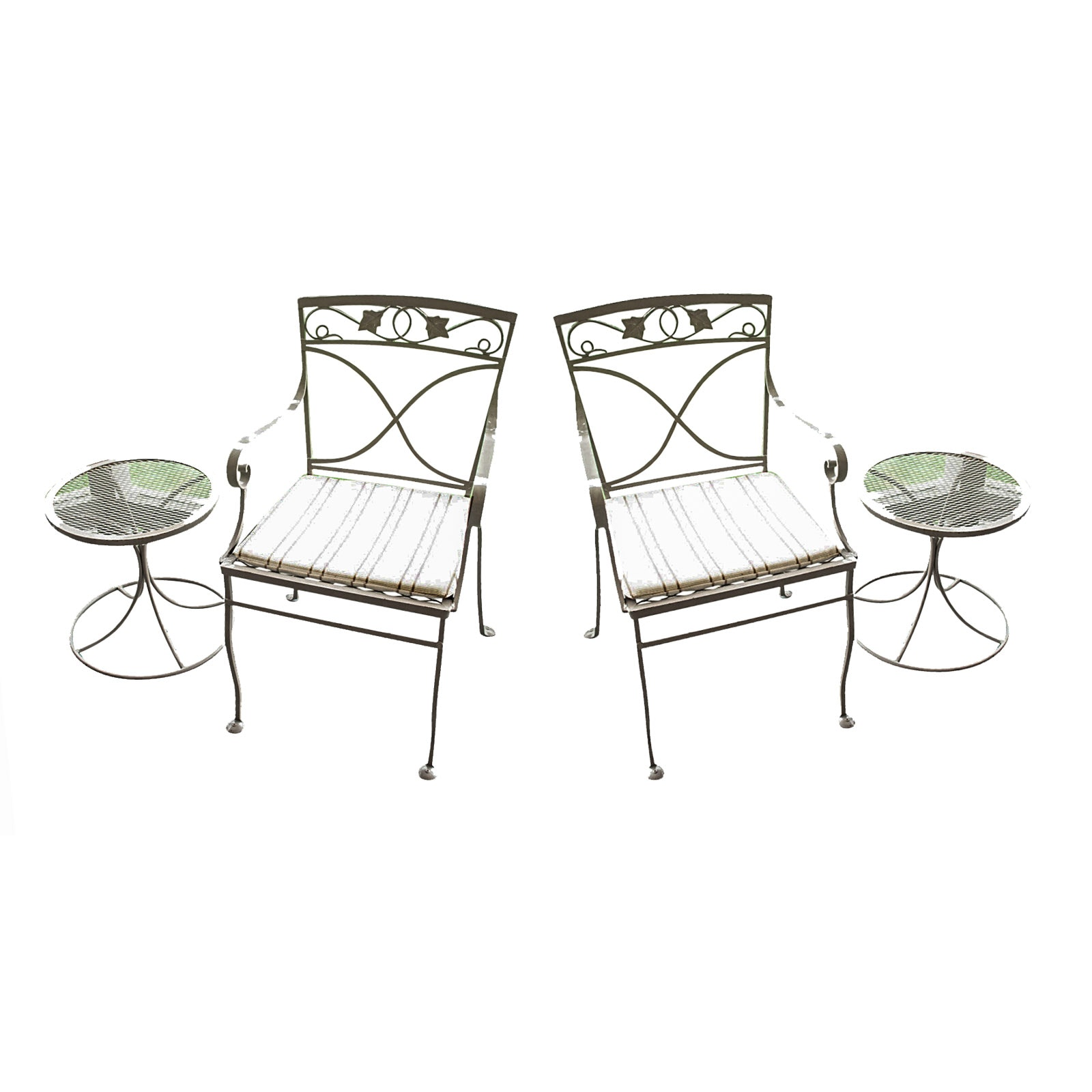 Pair of Patio Chairs and Side Tables