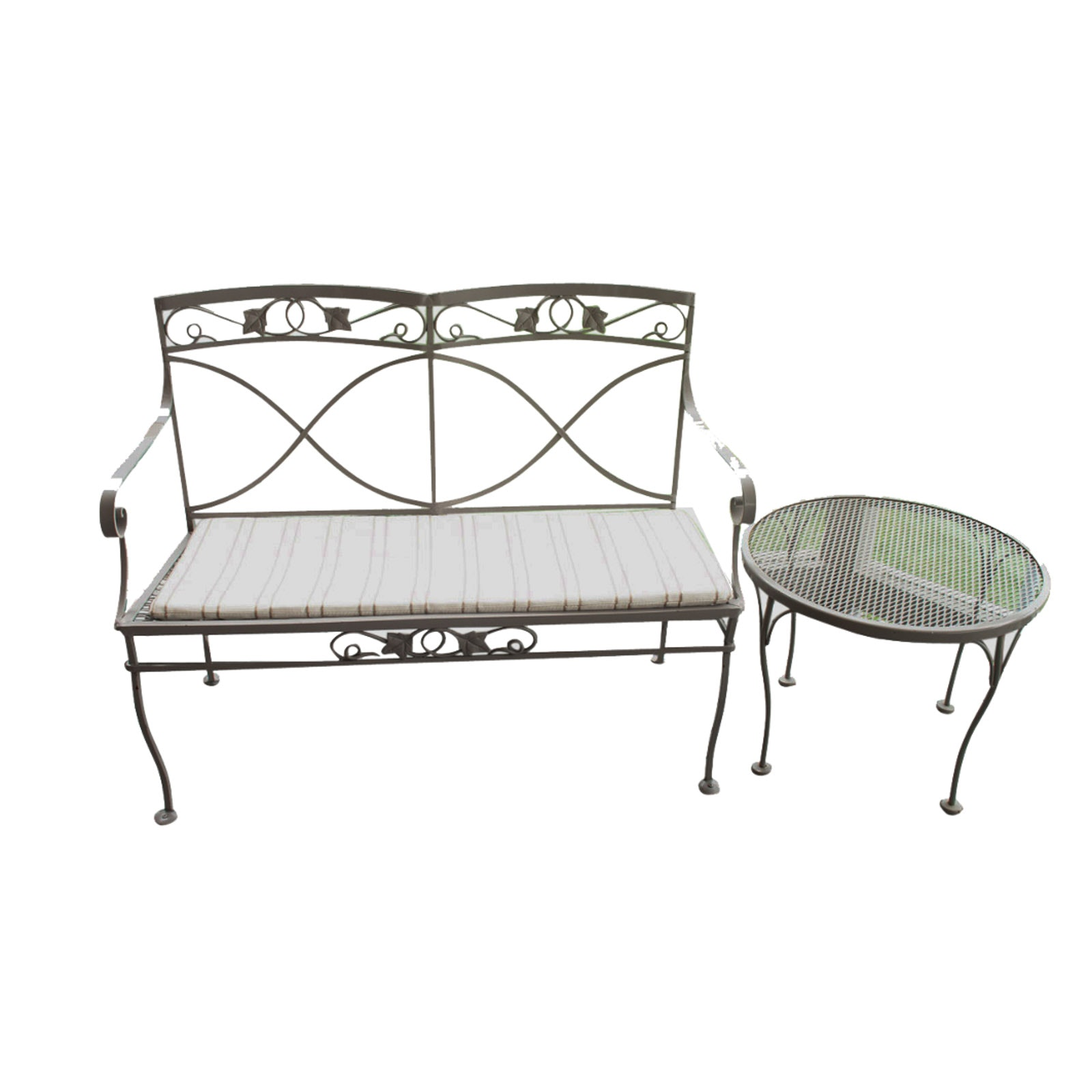 Metal Patio Bench and Table