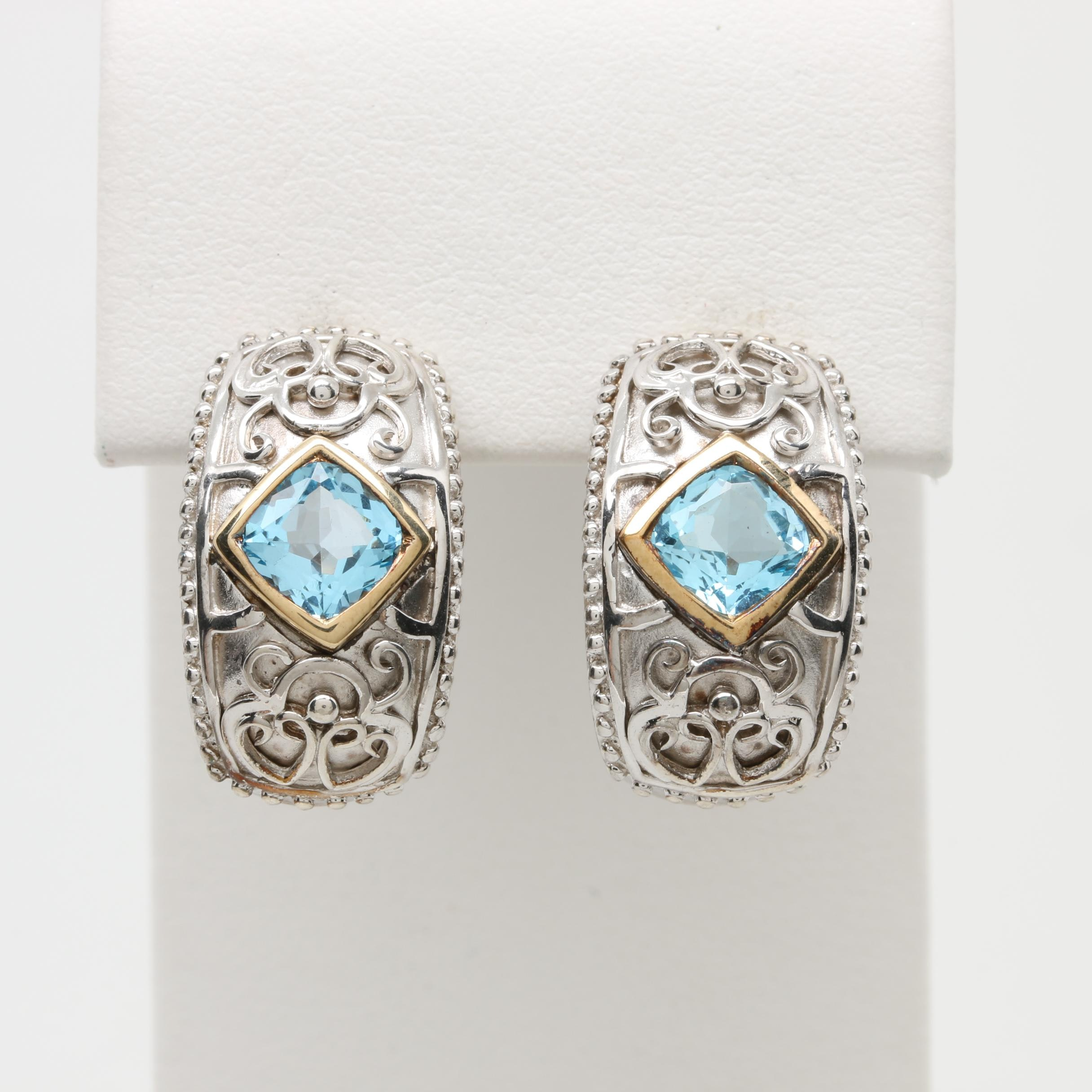 Sterling Silver Blue Topaz Earrings with 14K Yellow Gold Accents