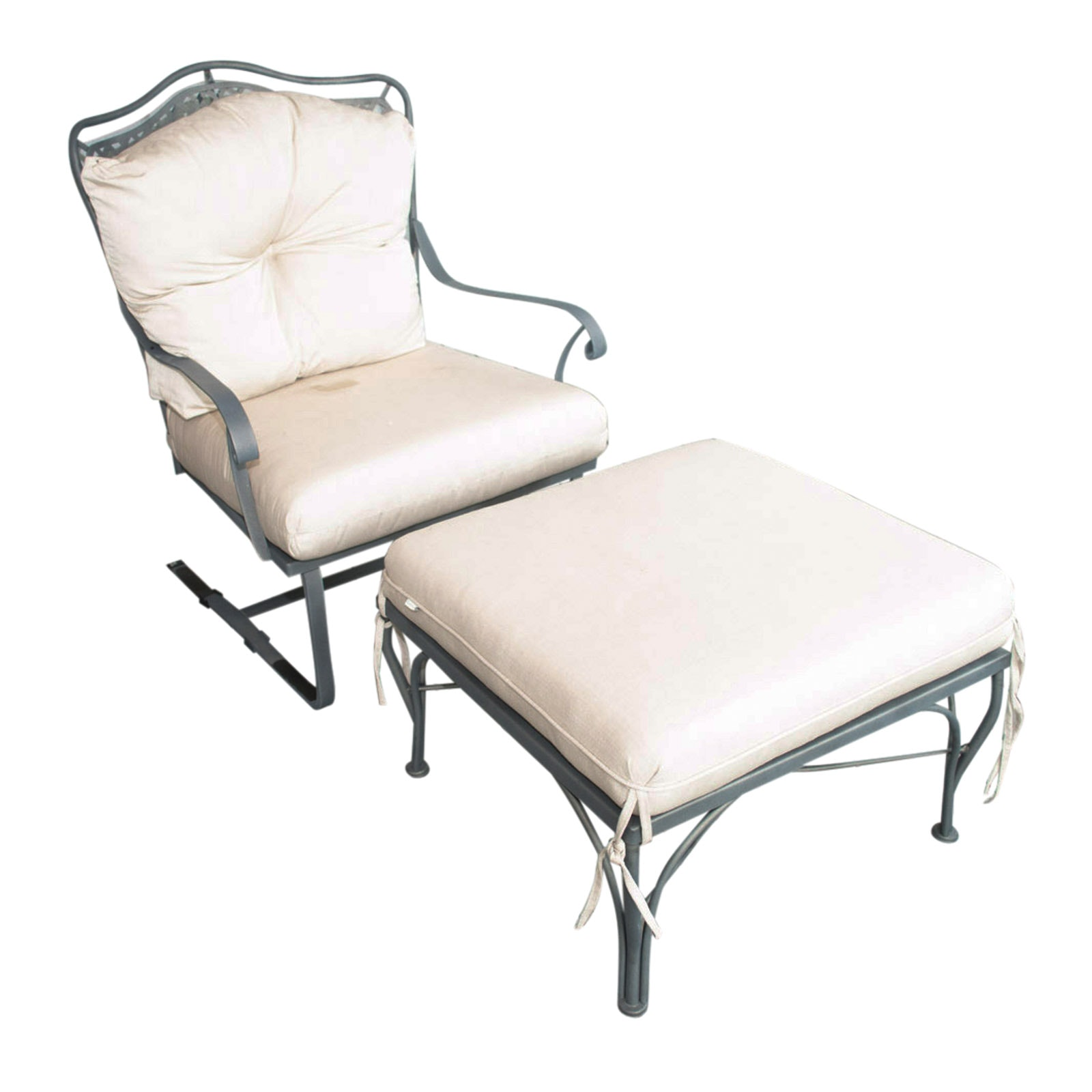 Metal Framed Patio Chair and Ottoman
