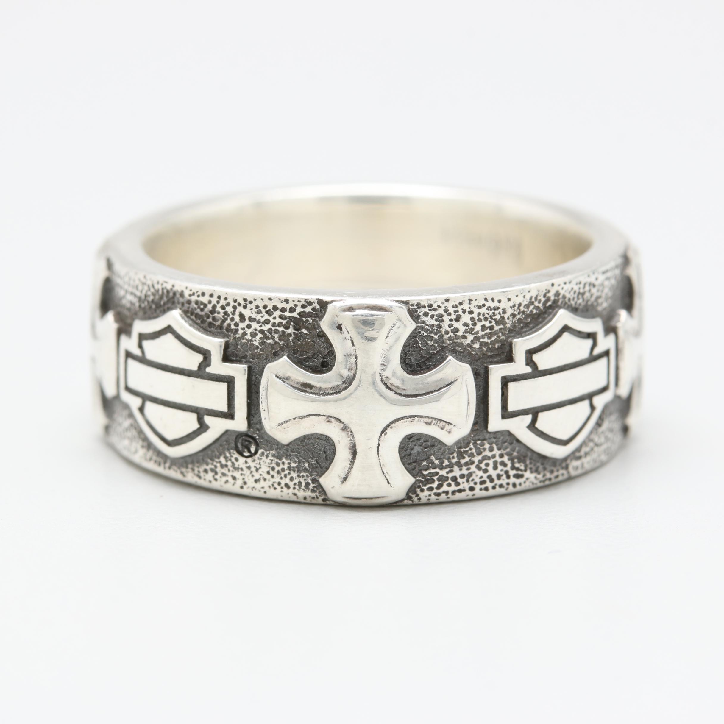 Sterling Silver Harley Davidson Ring