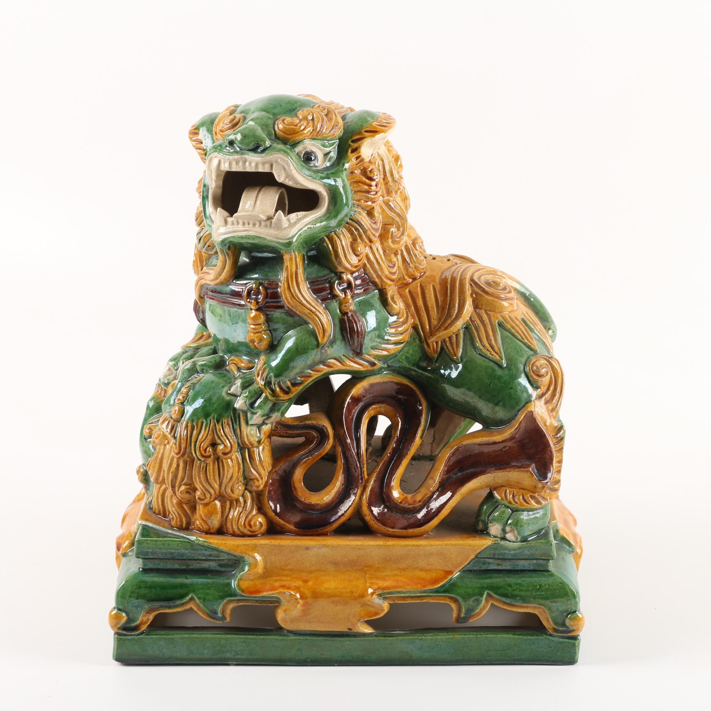 Chinese Sancai Glazed Guardian Lion Ceramic Figurine