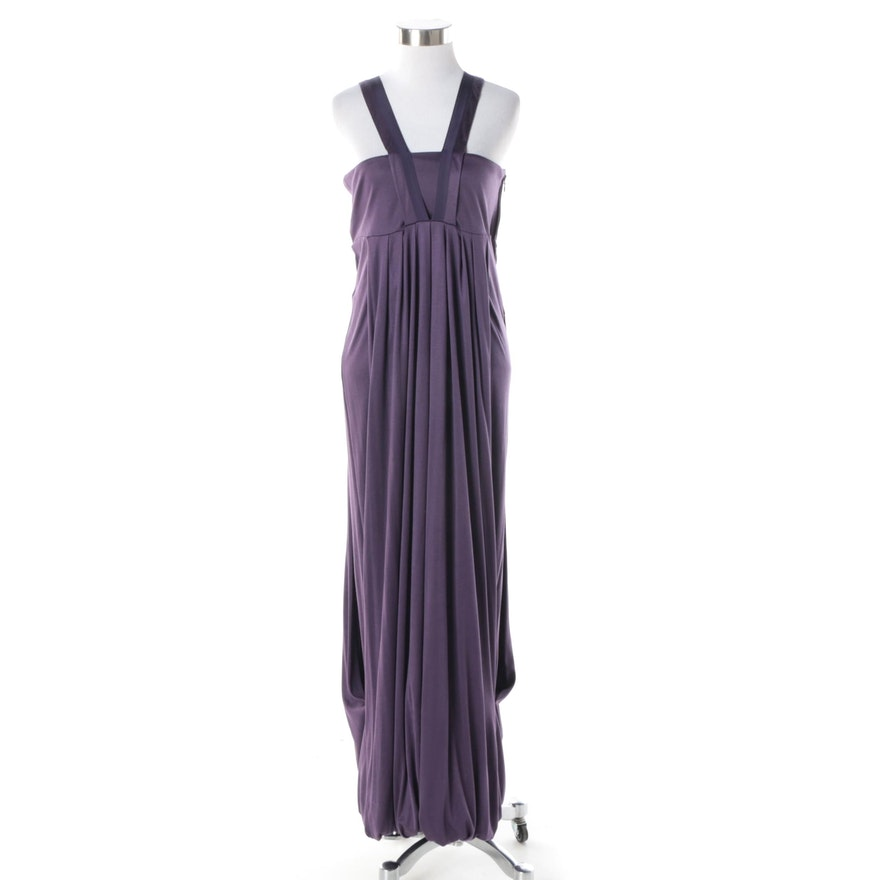 e4f9ab95a6f46 Yves Saint Laurent Purple Silk Empire Waist Evening Dress : EBTH