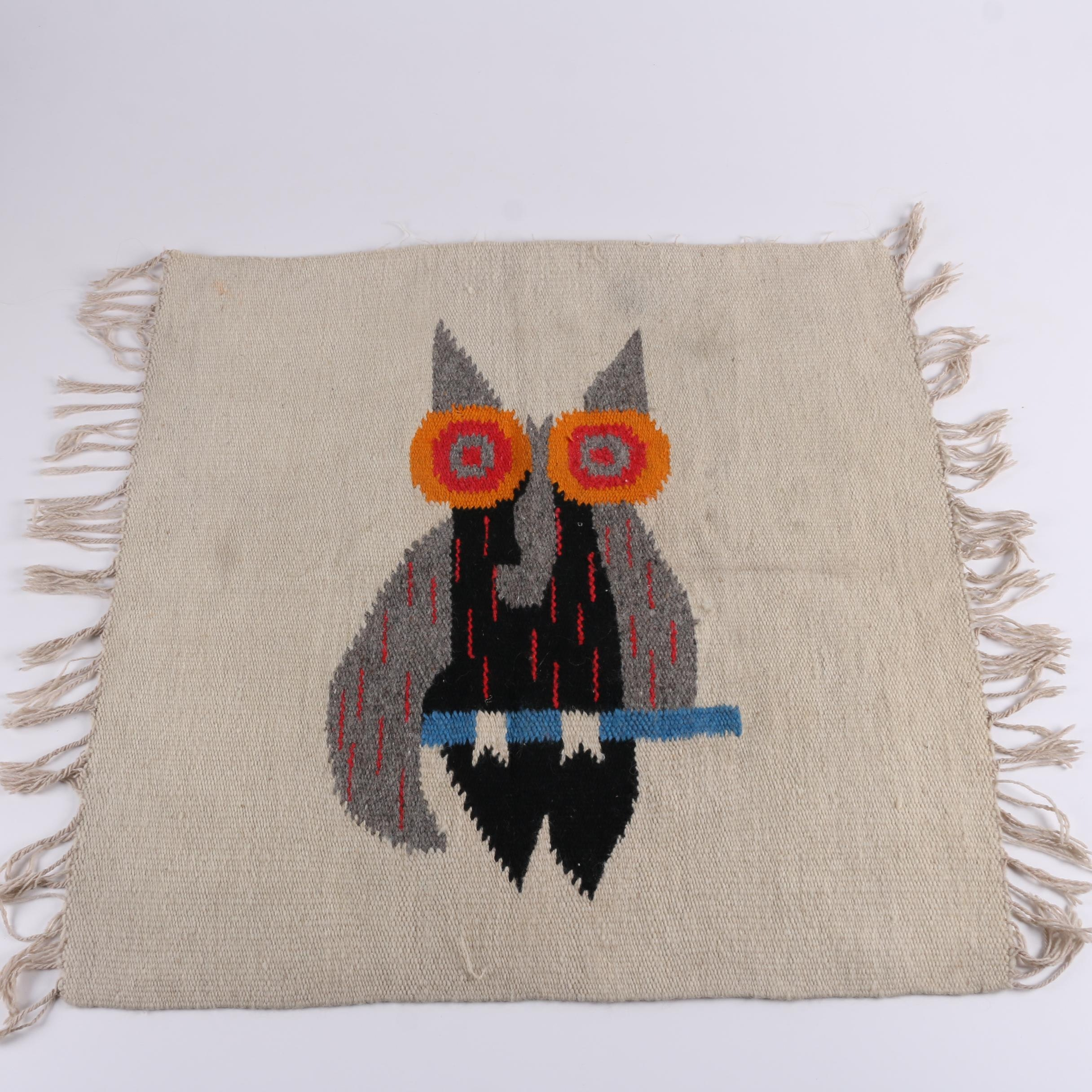 Woven Owl Themed Wool Textile