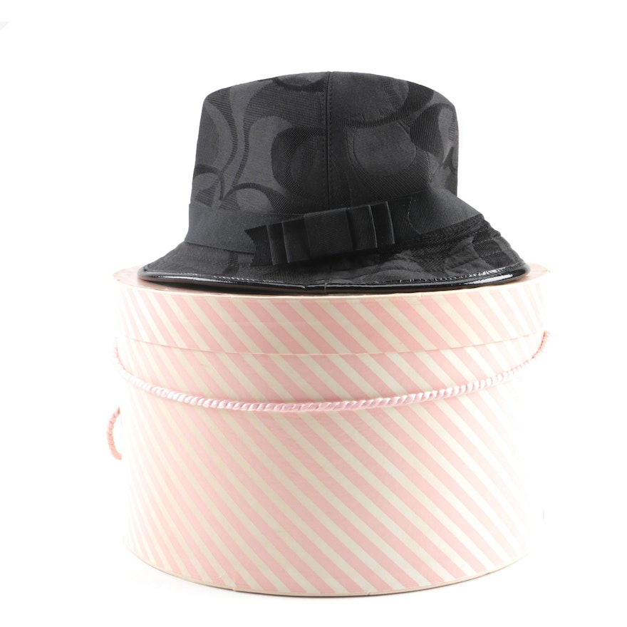 6f54cd48a Women's Coach Signature Jacquard Black Bucket Hat with Patent Leather Trim