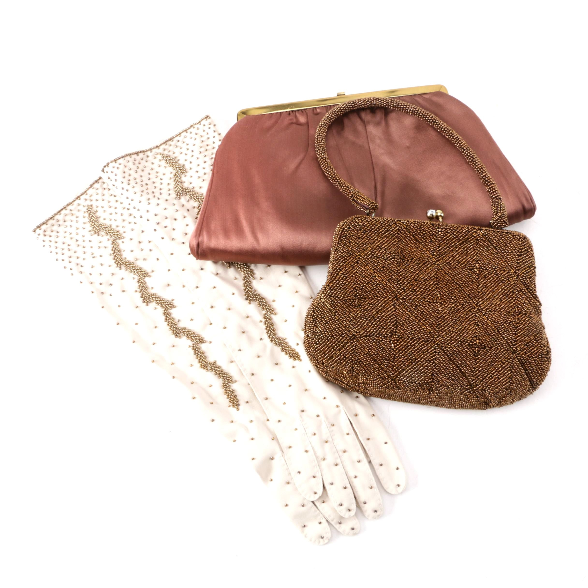Vintage Gloves, Beaded Bag by Debbie and Lorsey's Satin Clutch