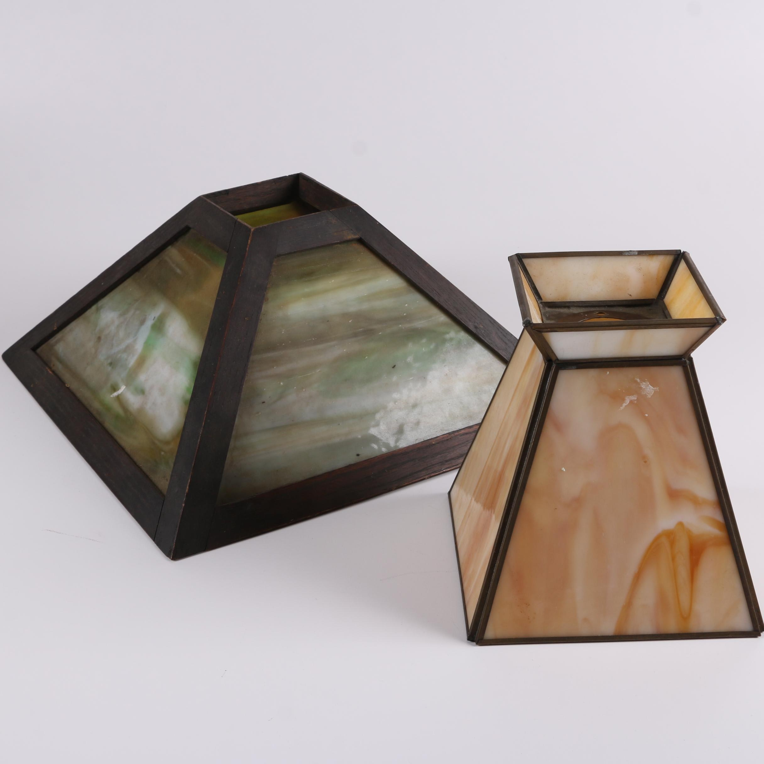 Mission Style Slag Glass Lamp Shades