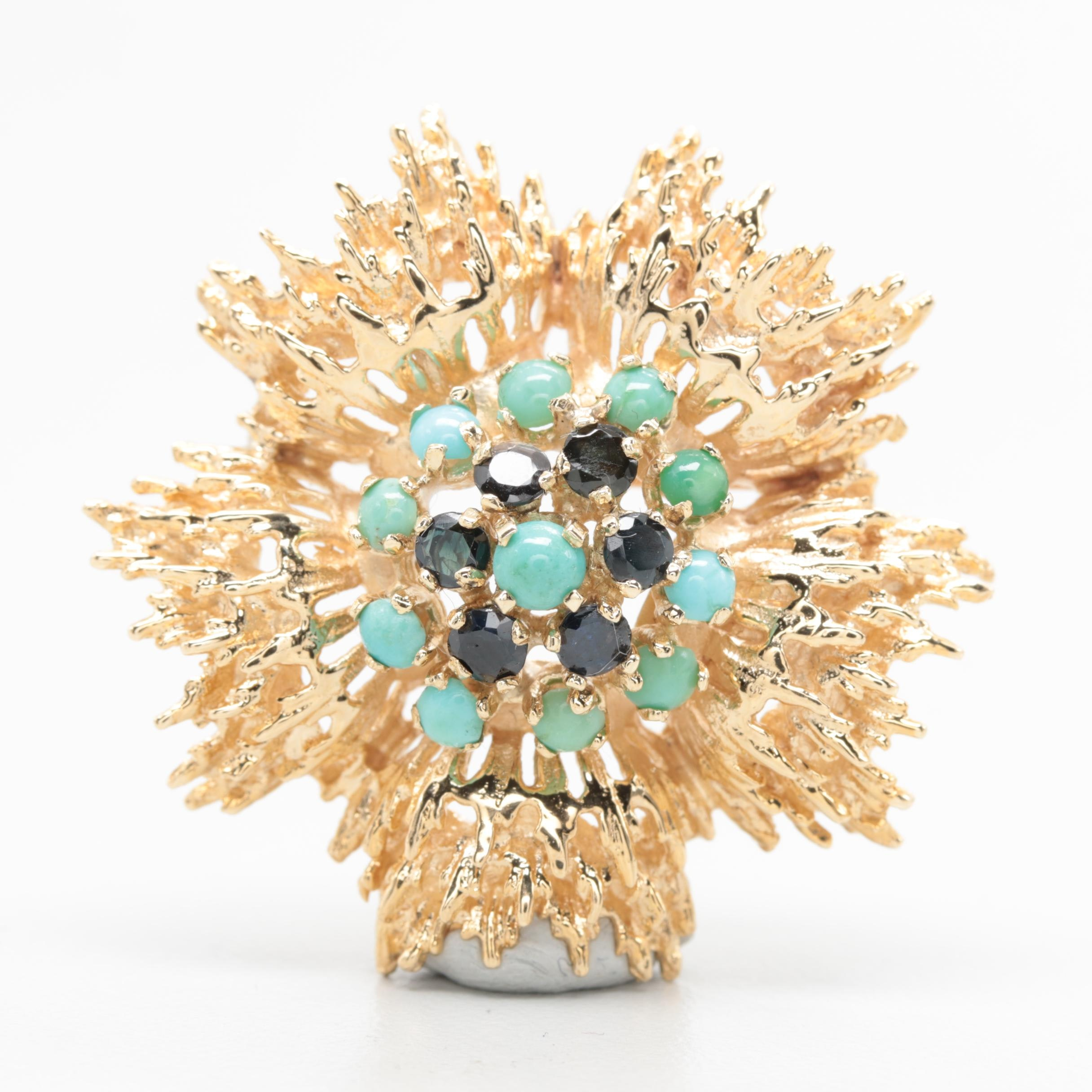 14K Yellow Gold Turquoise and Blue Sapphire Brooch