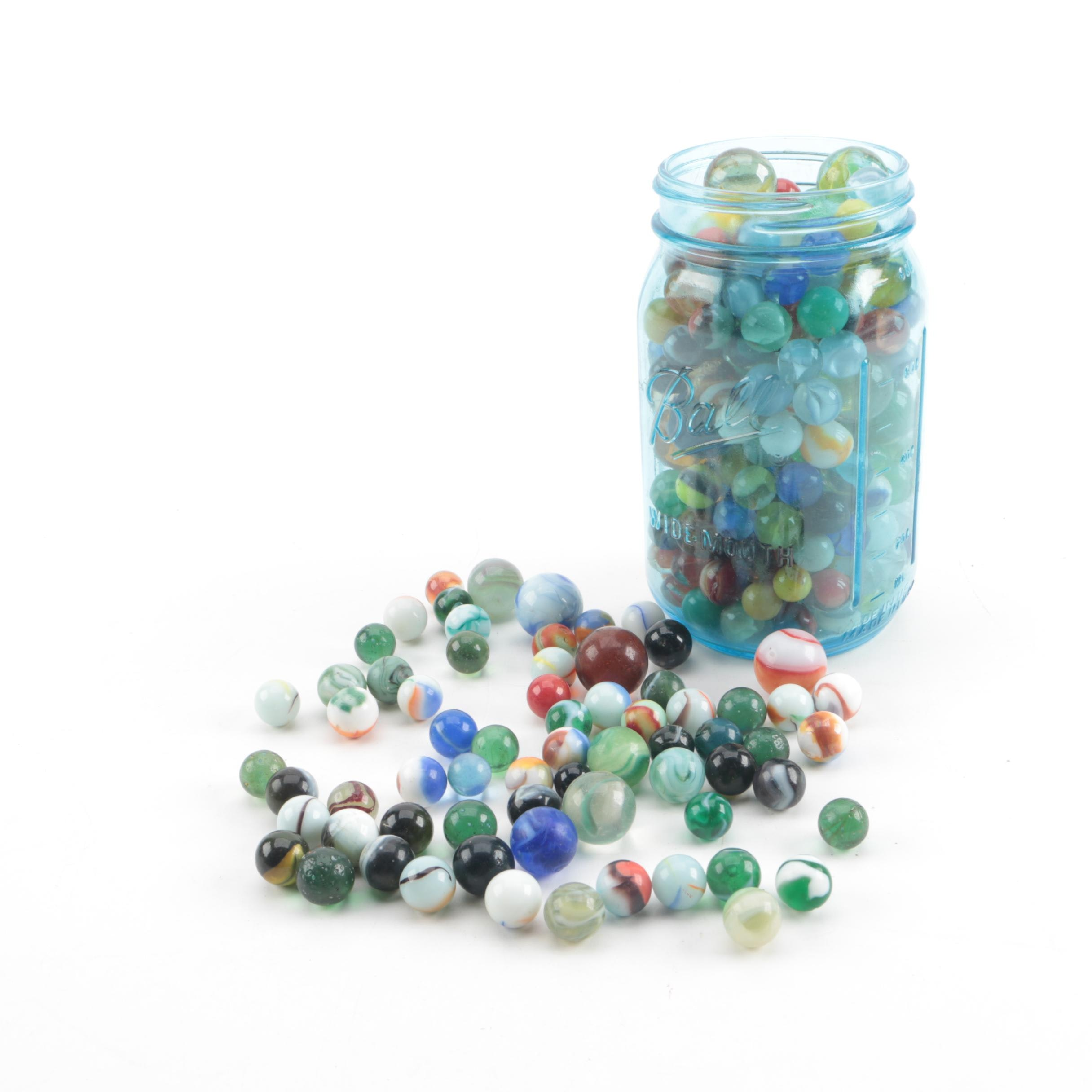 Glass Marbles with Blue Mason Jar