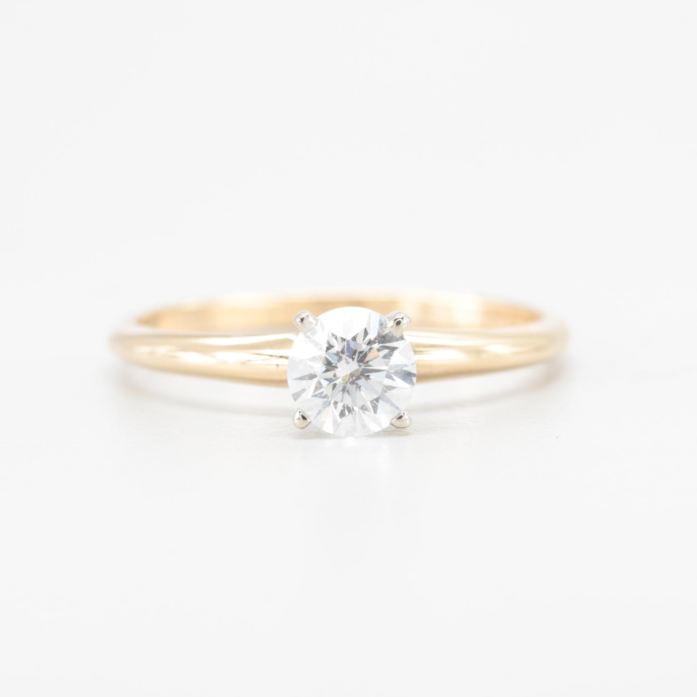 14K Yellow Gold Diamond Solitaire Ring with 18K White Gold