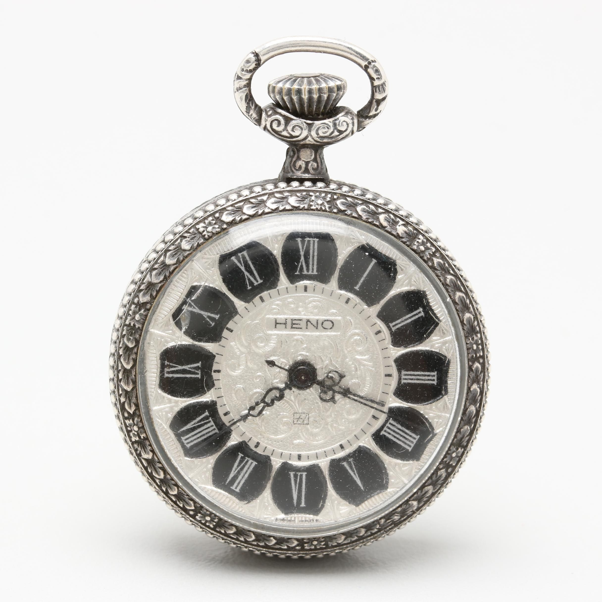 Heno 800 Silver Open Face Pocket Watch