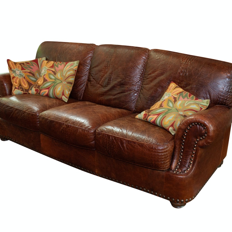 Awesome Alligator Style Embossed Leather Sofa With Throw Pillows Ebth Ocoug Best Dining Table And Chair Ideas Images Ocougorg