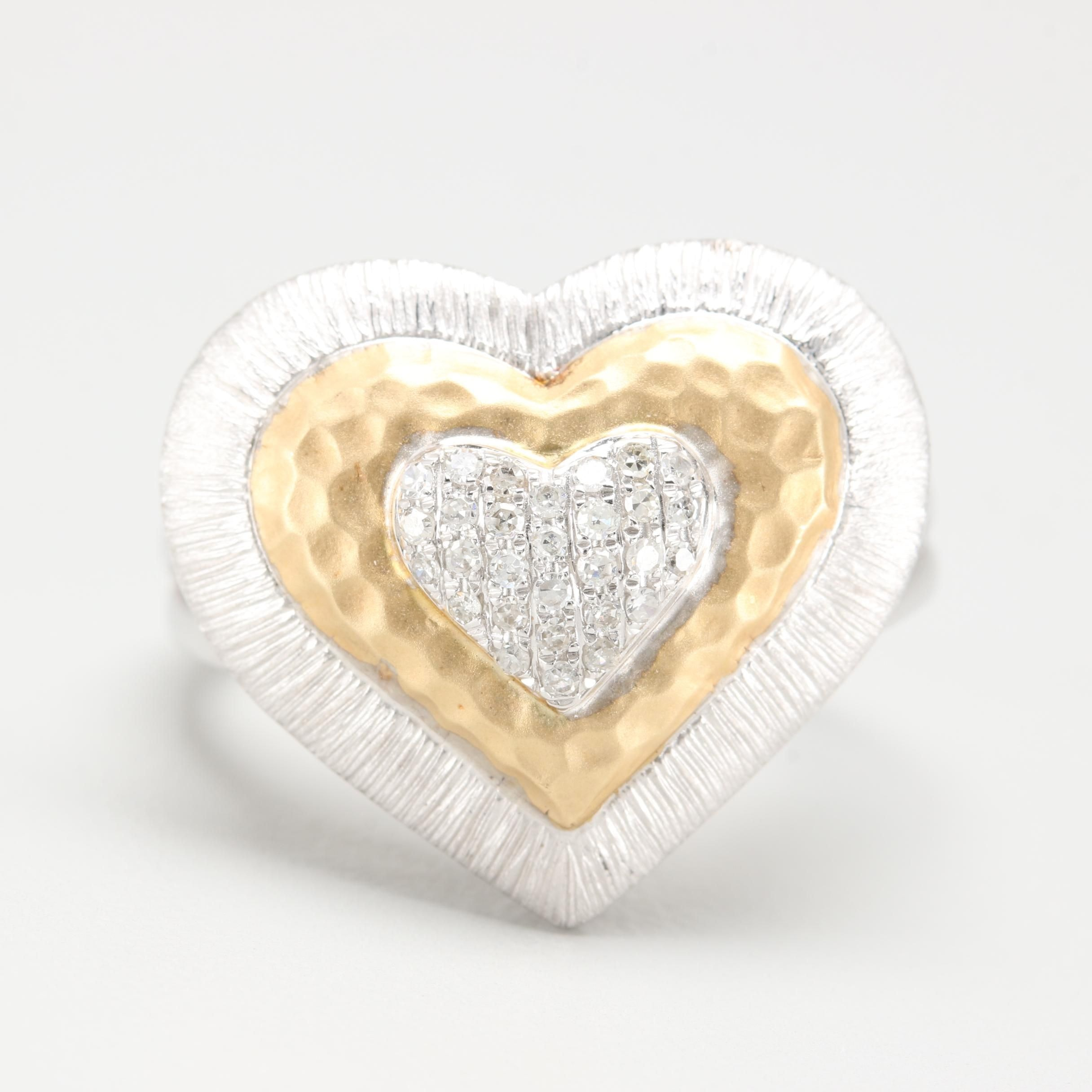 14K Yellow and White Gold Diamond Heart Ring