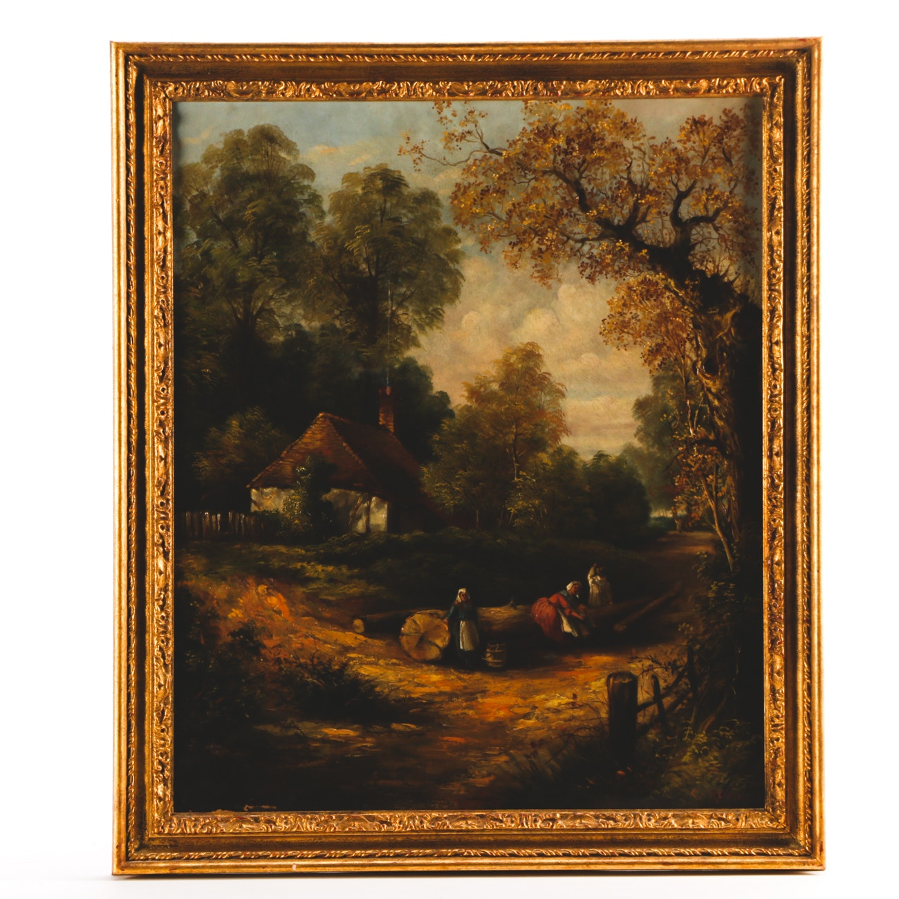 C. H. Revill Late 19th-Century Oil on Canvas Landscape with Figures