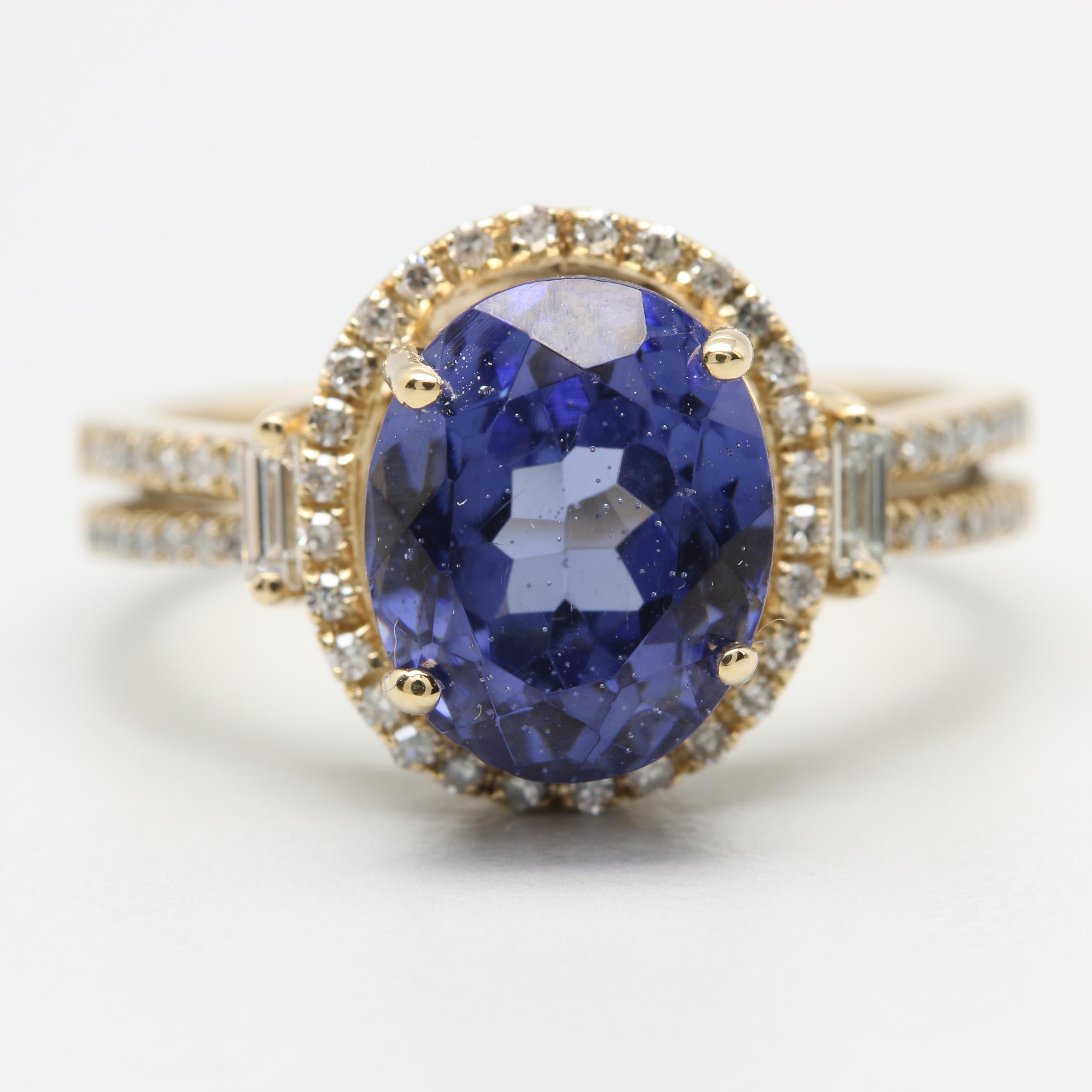 14K Yellow Gold Purple Glass and Diamond Ring