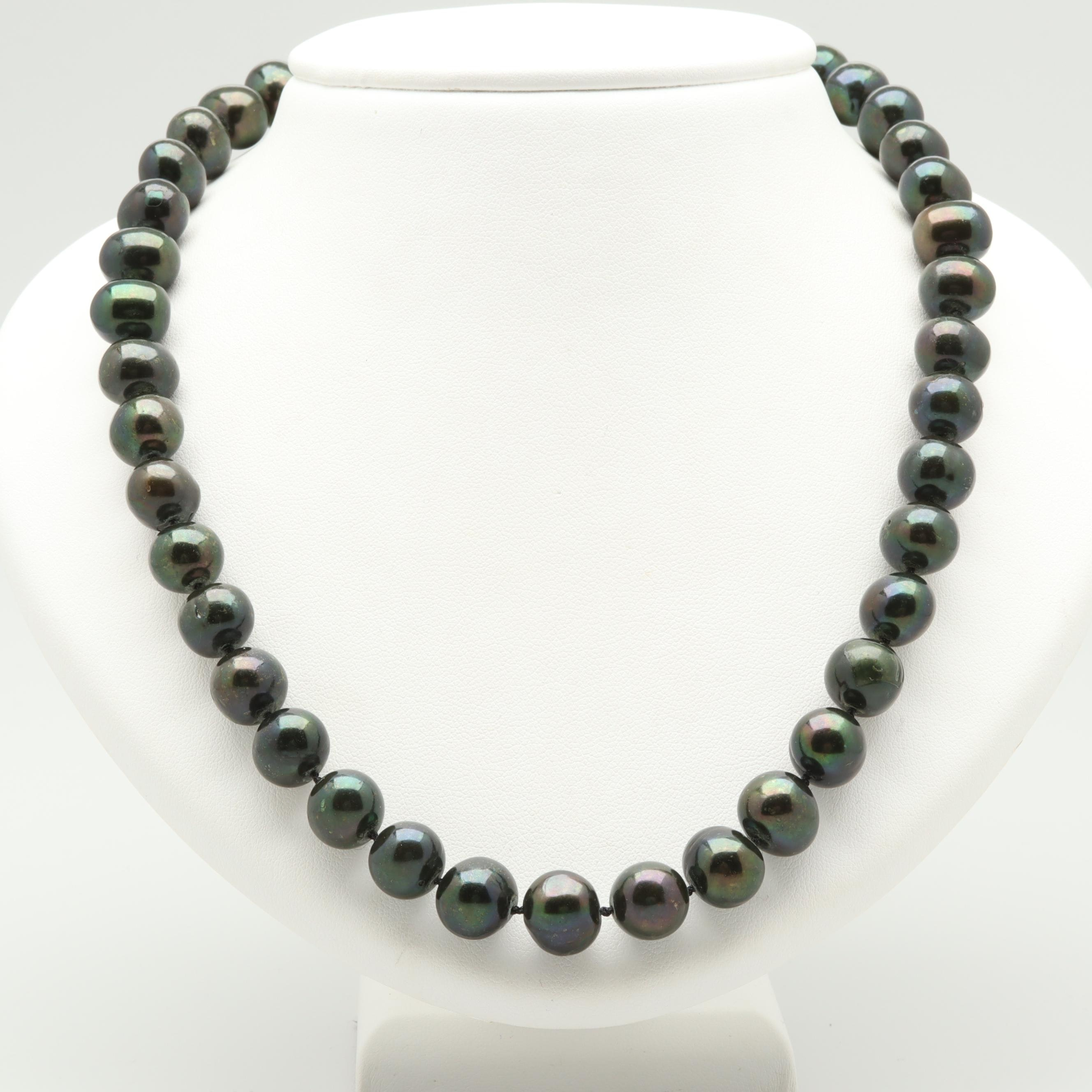 14K Yellow Gold Dark Green Cultured Pearl Necklace