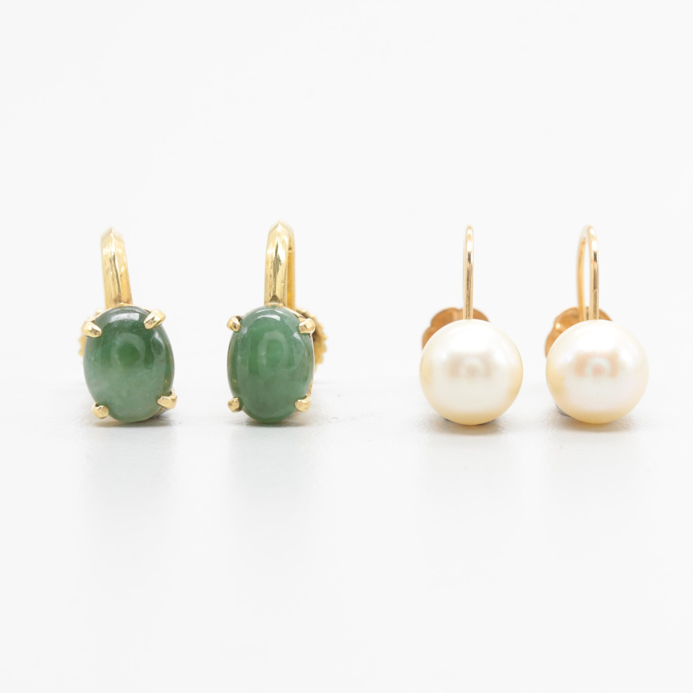 14K Yellow Gold Jadeite and Cultured Pearl Screw Back Earring Selection