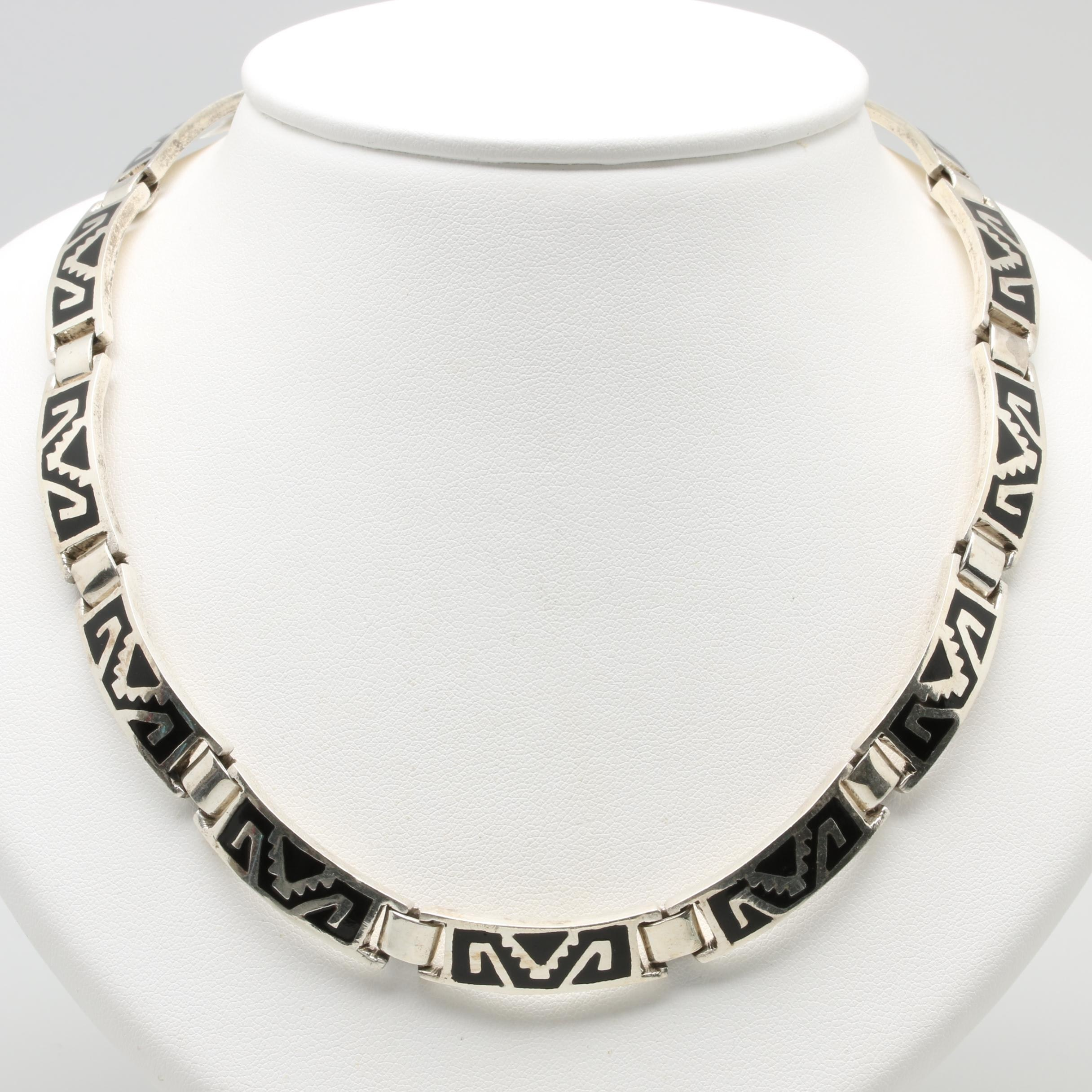 Mexican Made Sterling Silver Enamel Necklace