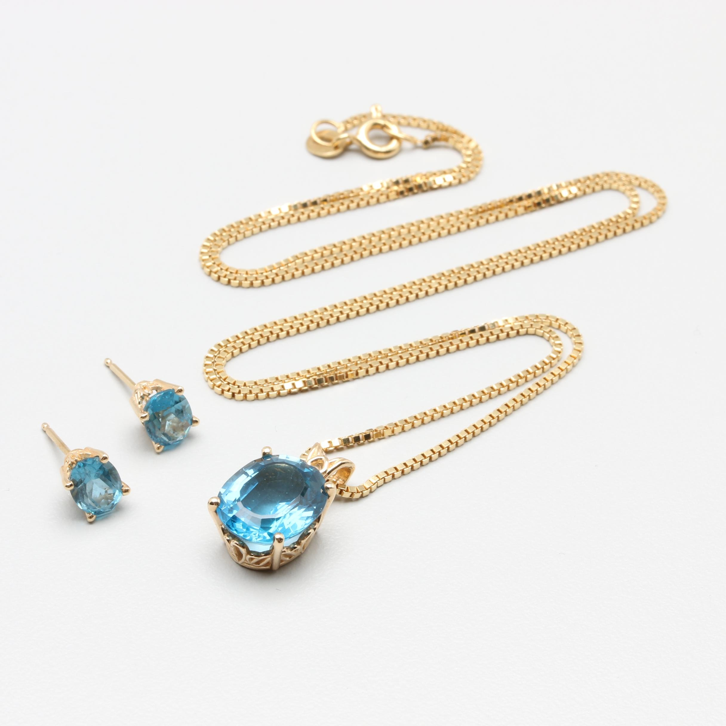 14K and 18K Yellow Gold Blue Topaz Demi Parure