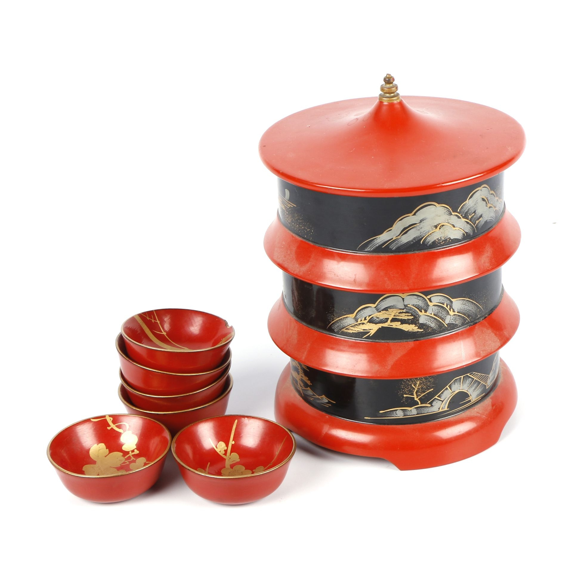Vintage Japanese Urushi Lacquer Stacking Lunch Box and Dipping Bowls