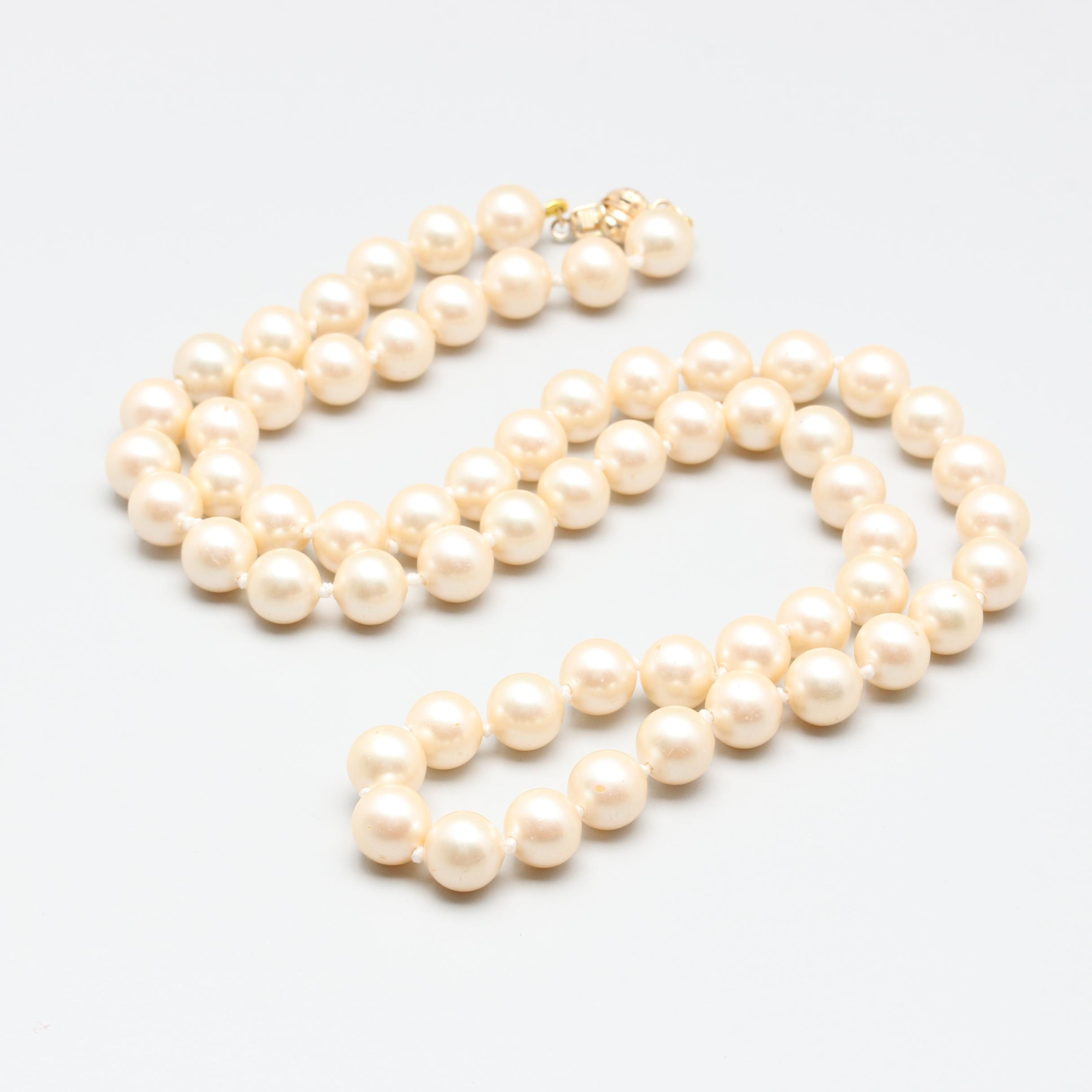 14K Yellow Gold Imitation Pearl Necklace