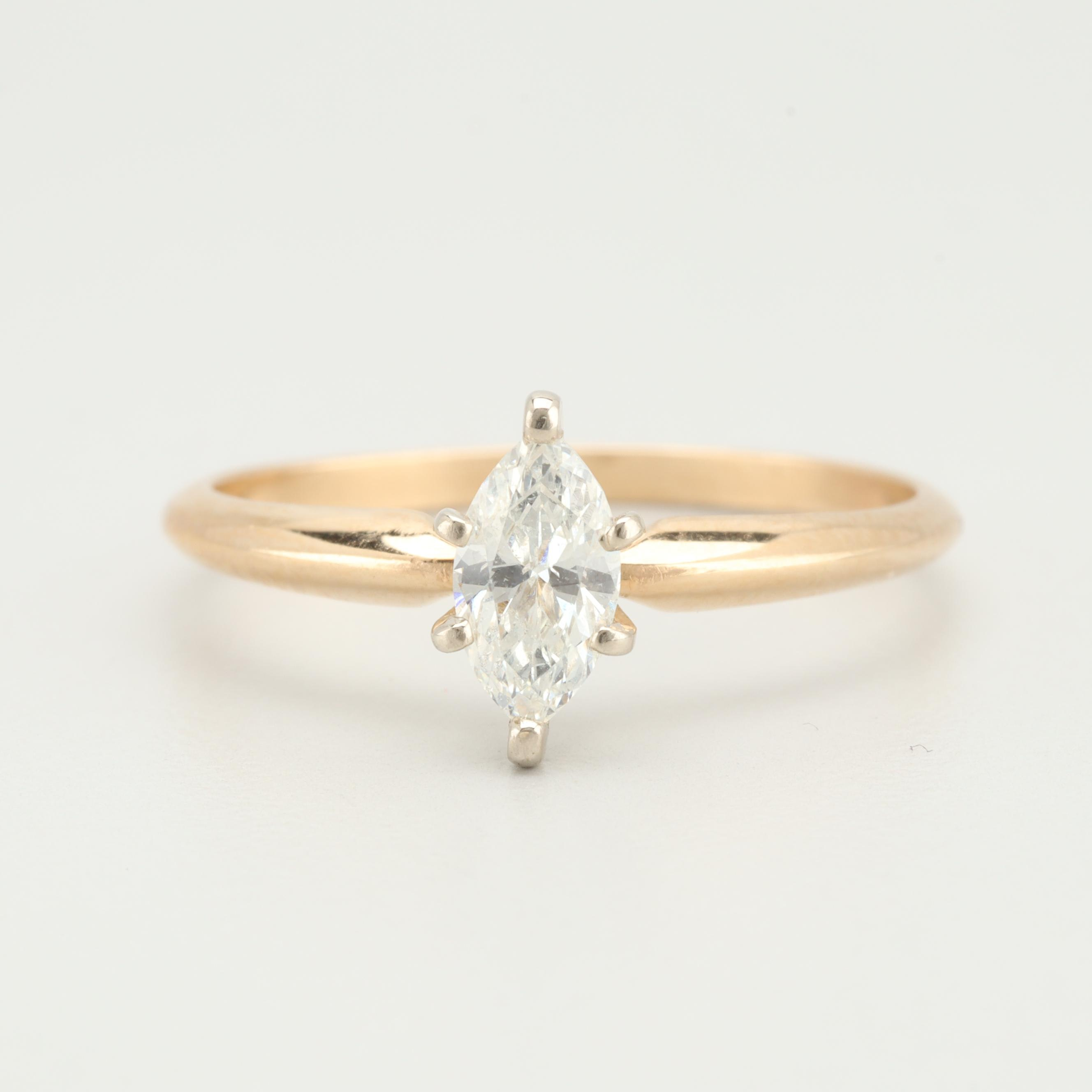14K Yellow Gold Diamond Solitaire Ring