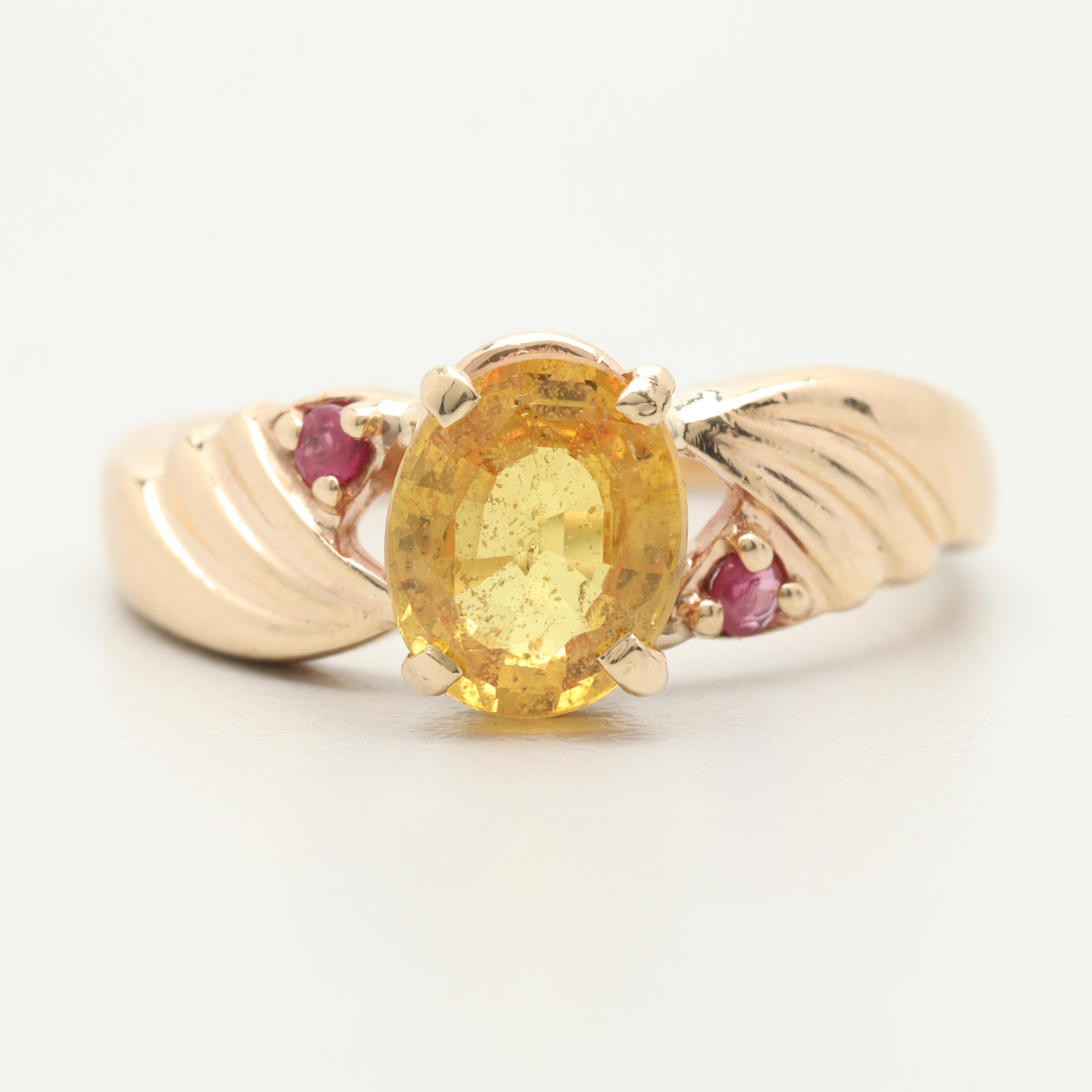 10K Yellow Gold 1.26 CT Yellow Sapphire and Ruby Ring