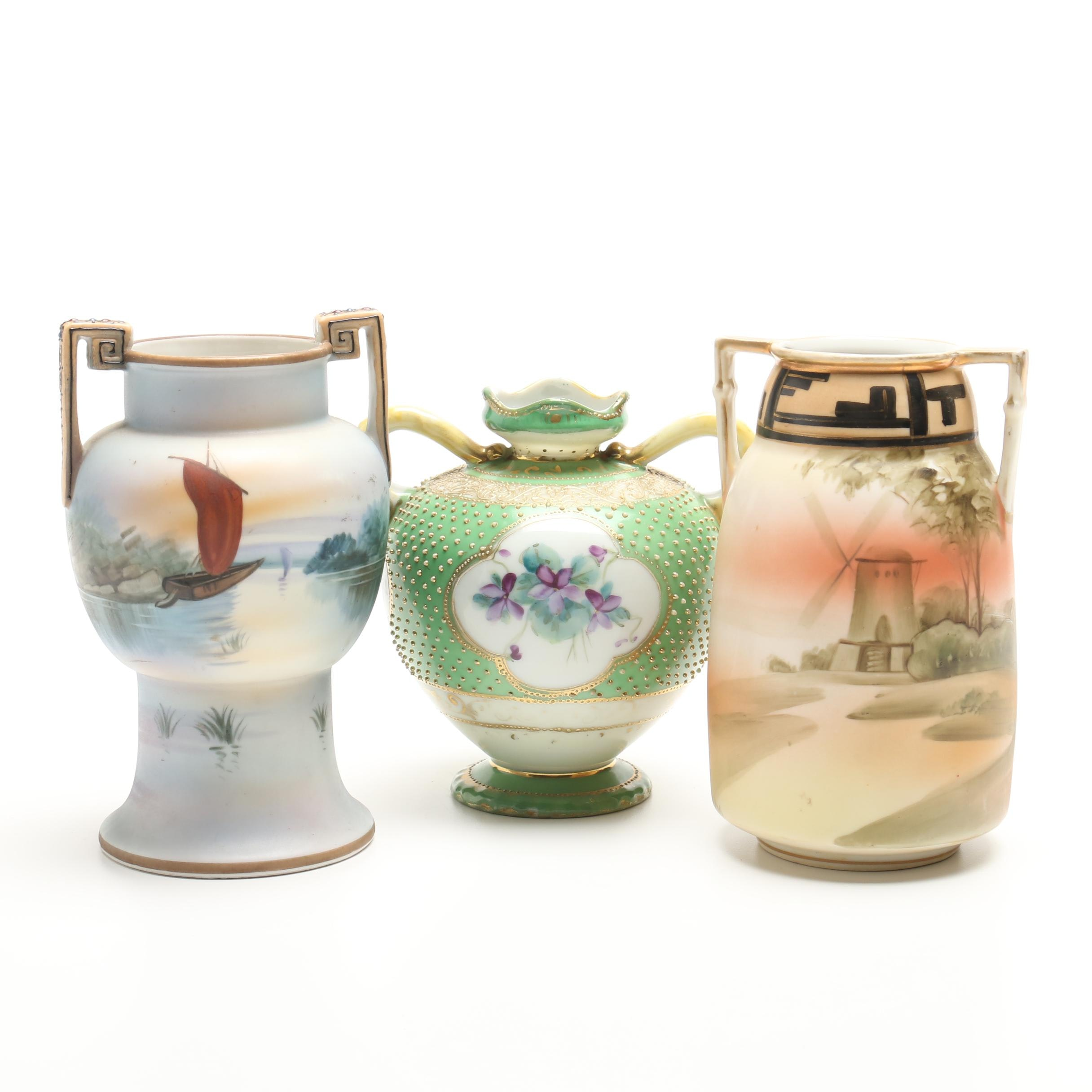 Selection of Vintage Nippon and Noritake Vases
