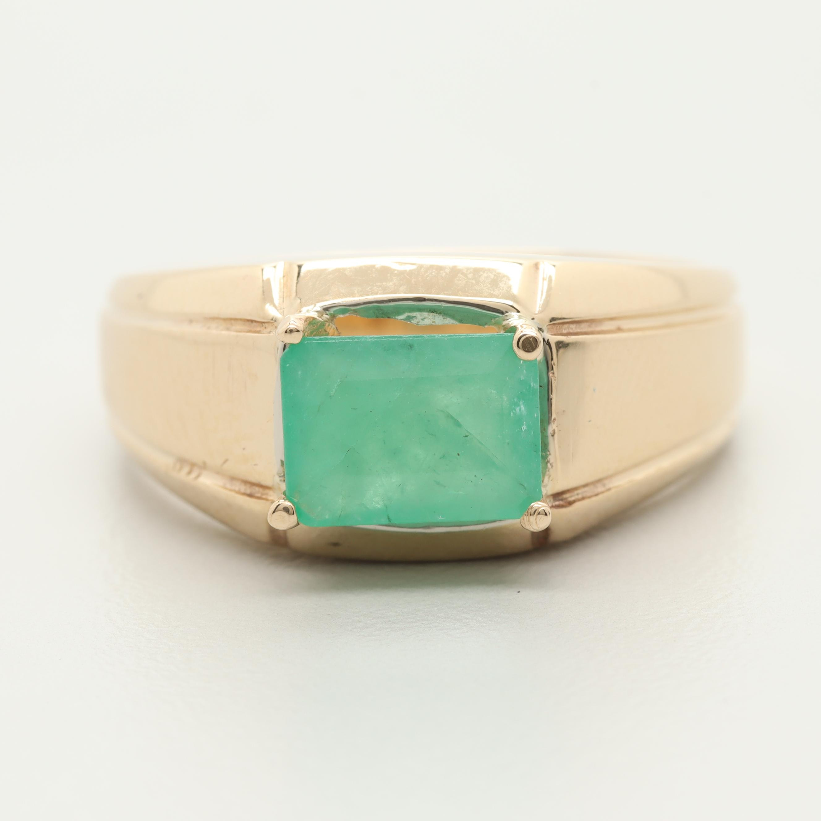 14K Yellow Gold 1.37 CT Emerald Ring