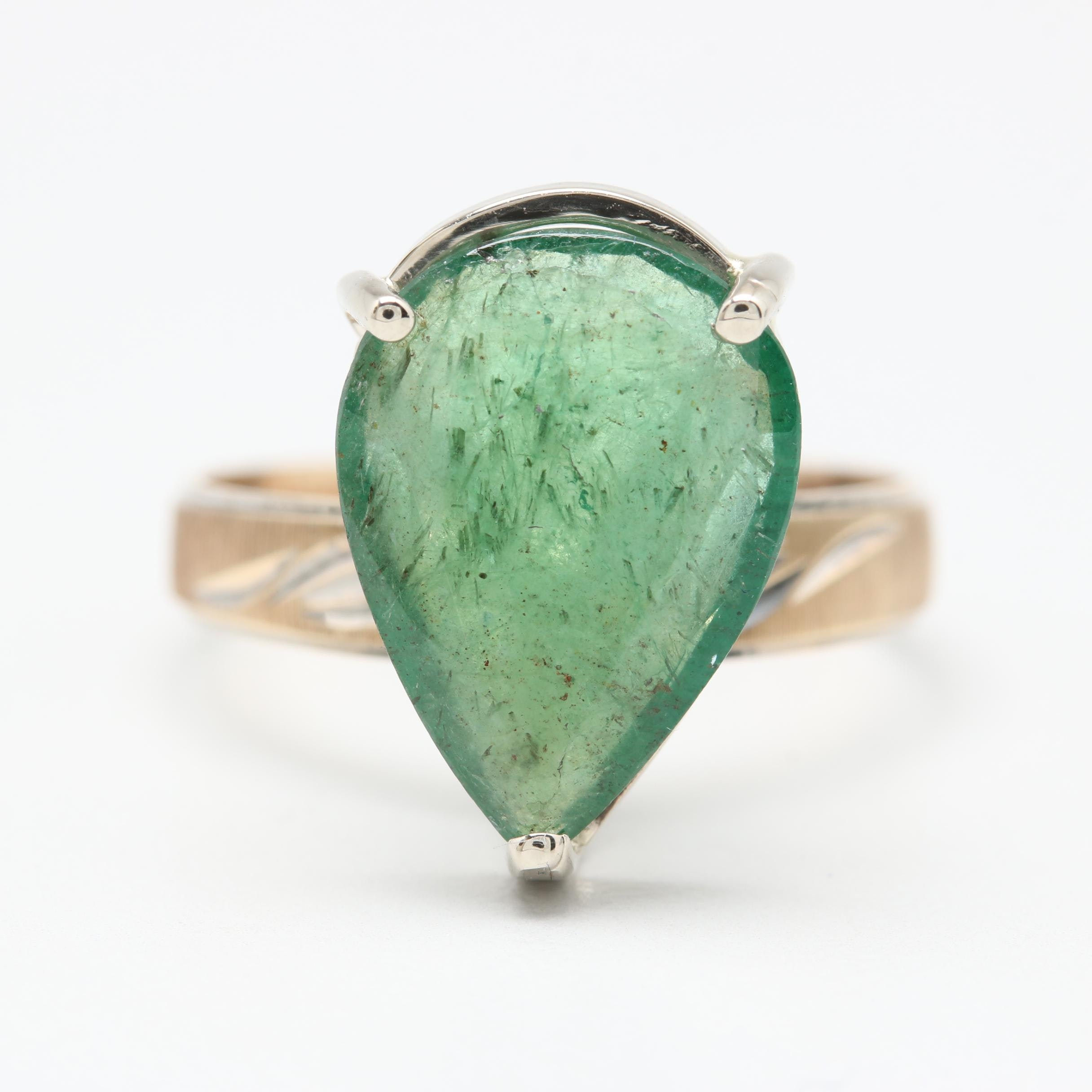10K Yellow Gold 2.03 CT Emerald Ring with 14K White Gold Accents