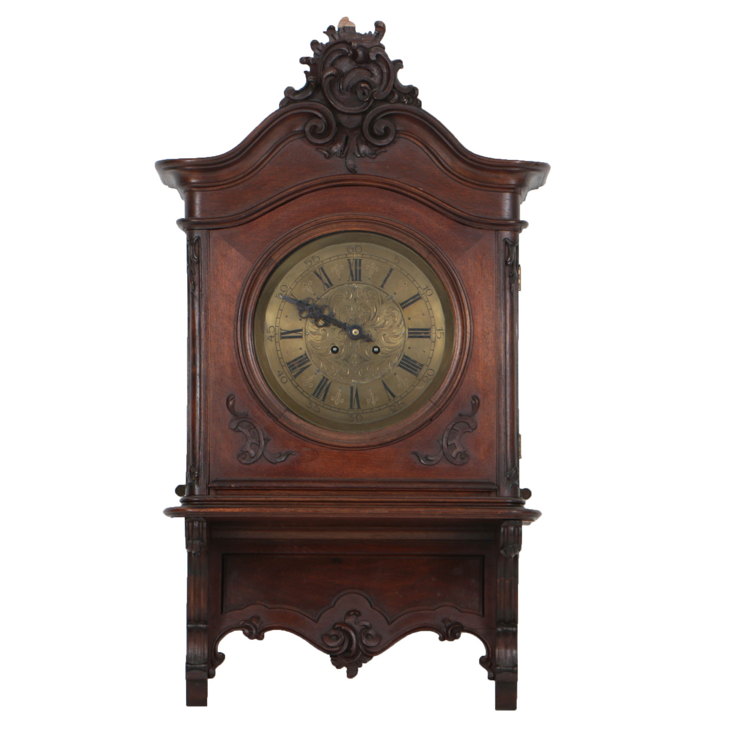 Walnut Case Wall Clock, Late 19th-Century