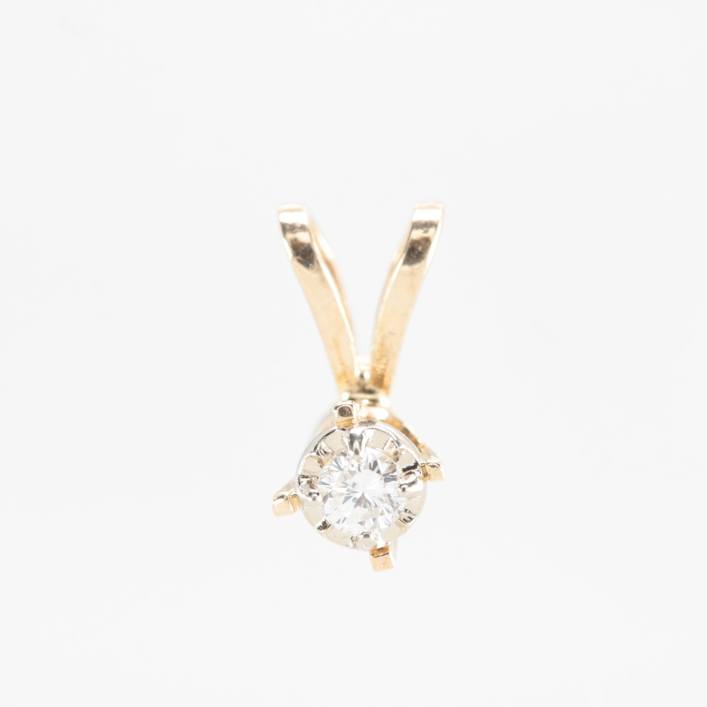 14K Yellow Gold Diamond Pendant with White Gold Accent