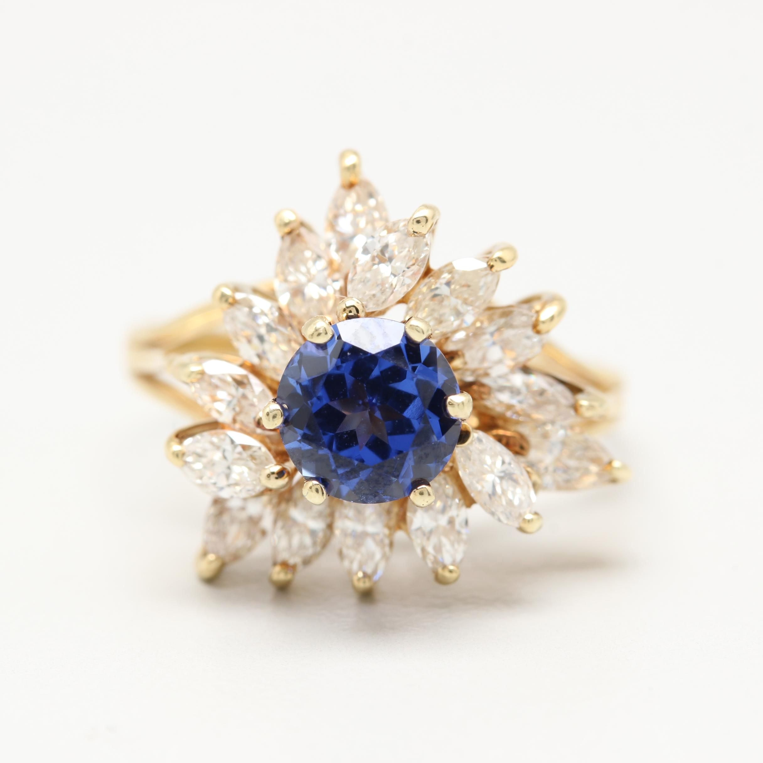 18K Yellow Gold Synthetic Sapphire and 1.17 CTW Diamond Ring