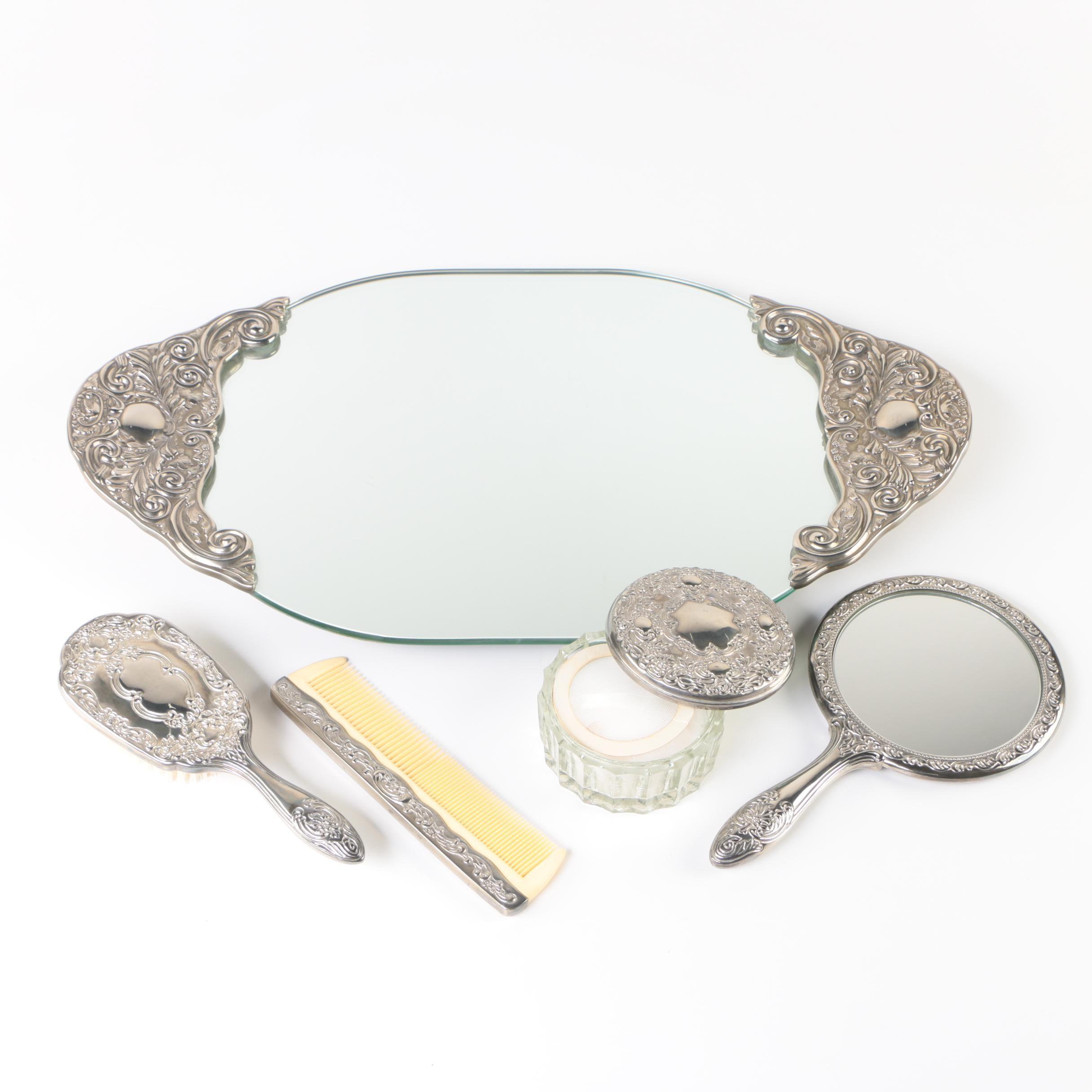 Silver Tone Vanity Set with Mirror Tray