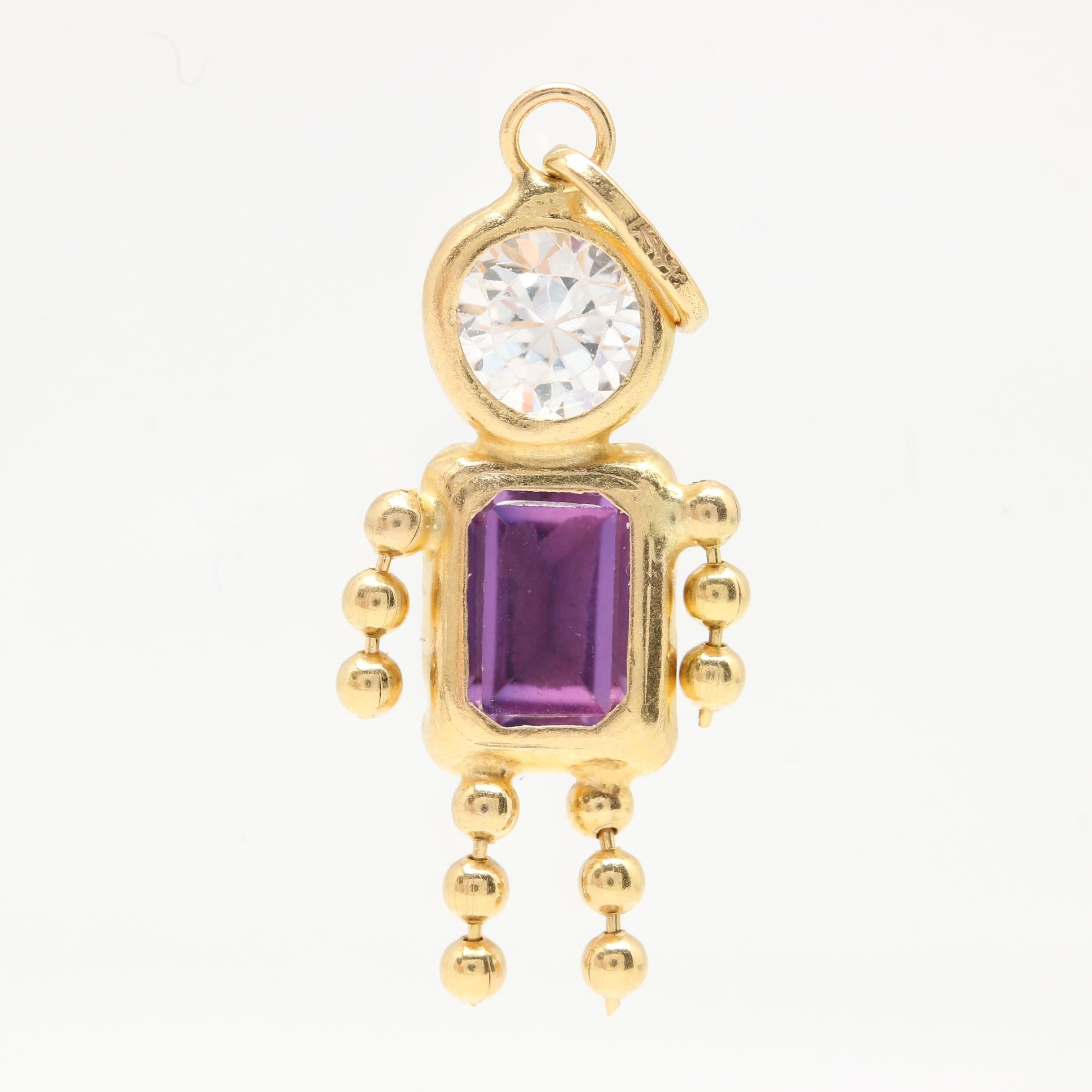 14K Yellow Gold Cubic Zirconia and Synthetic Pink Sapphire Pendant
