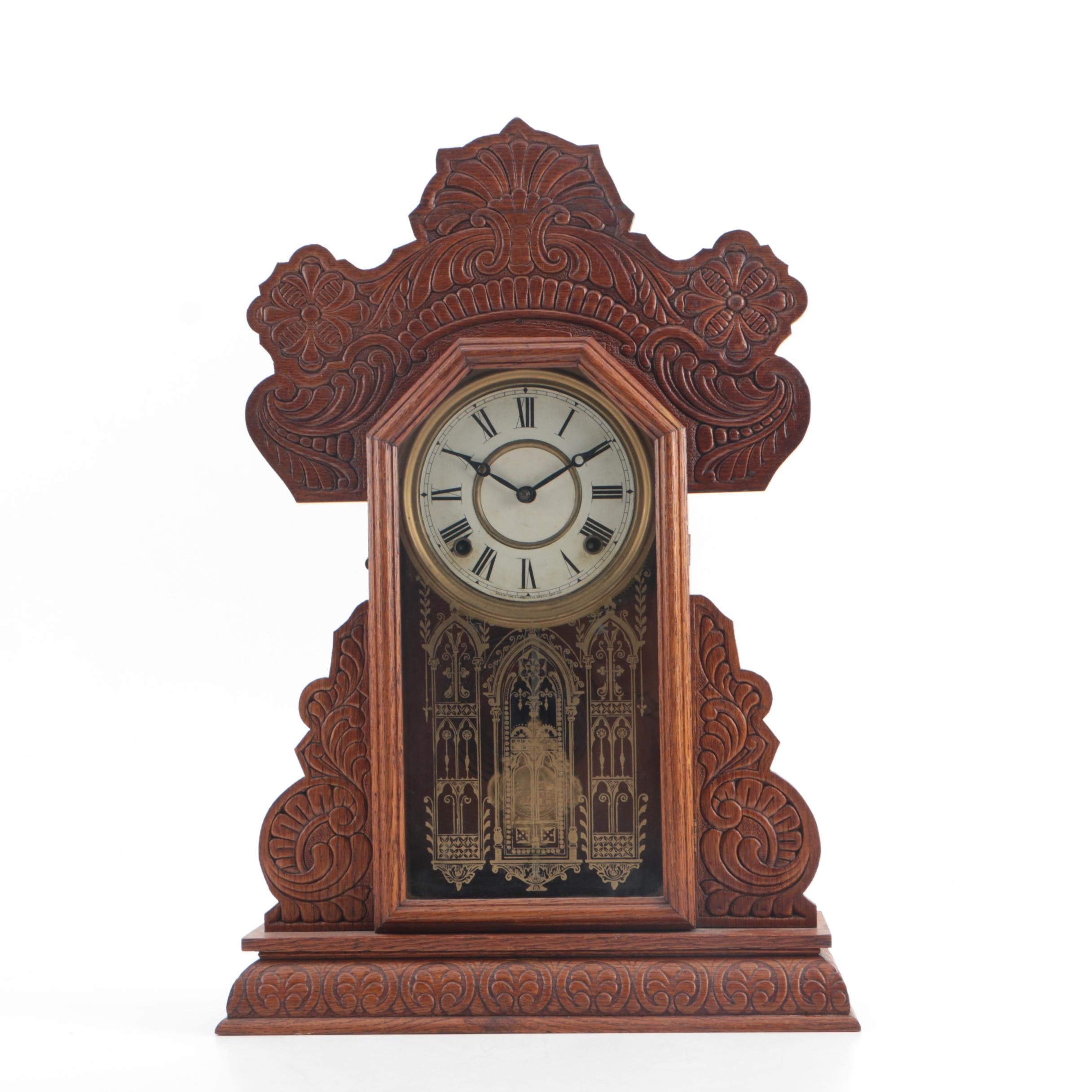 Antique E. Ingraham Pressed Oak Gingerbread Style Mantel Clock