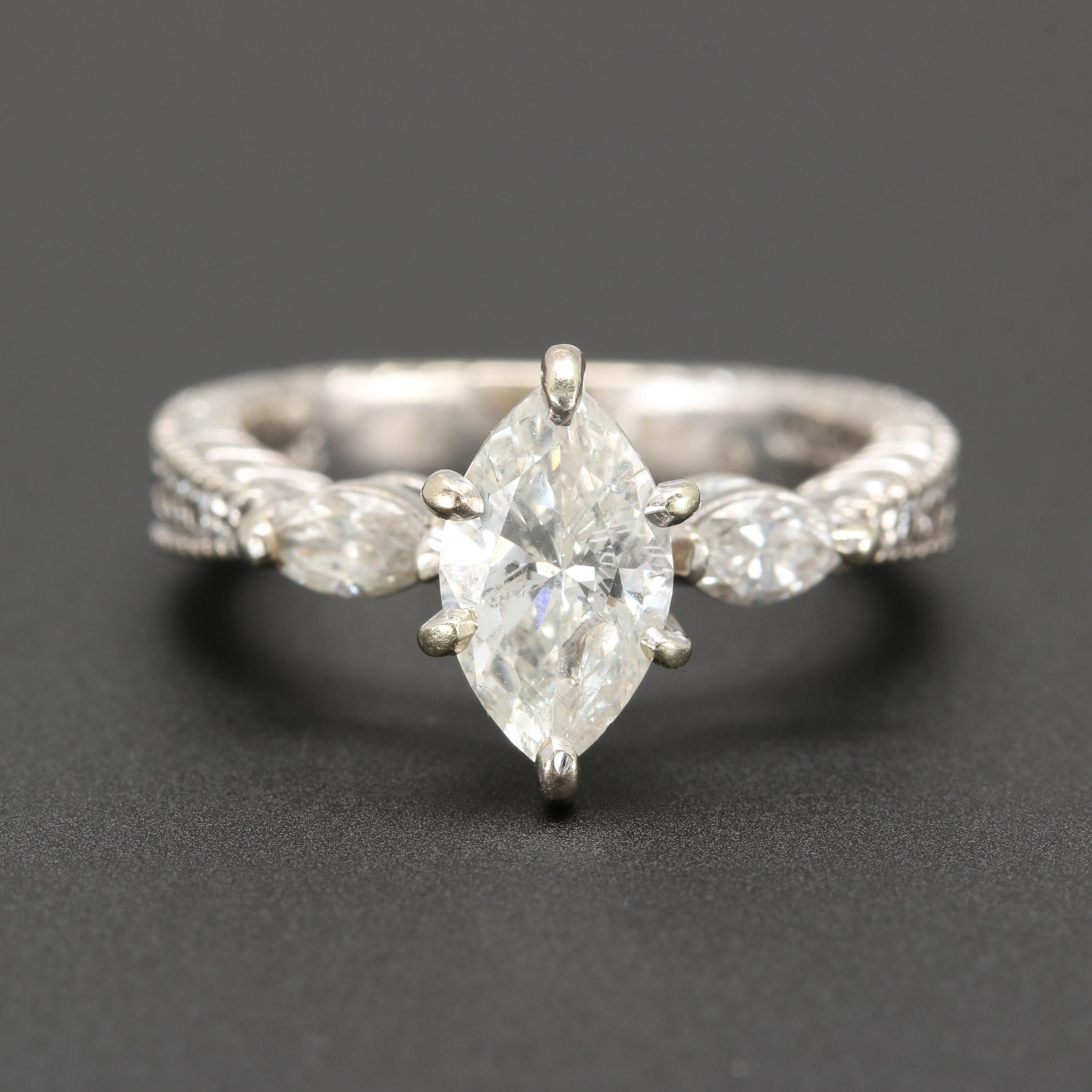 14K White Gold 1.15 CTW Diamond Ring
