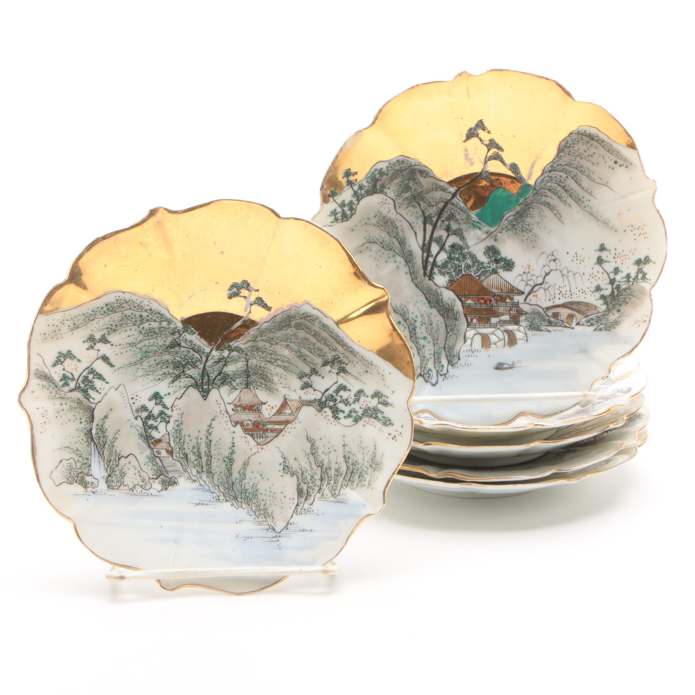 Vintage Japanese Hand-Painted Mountain Scene Porcelain Plates