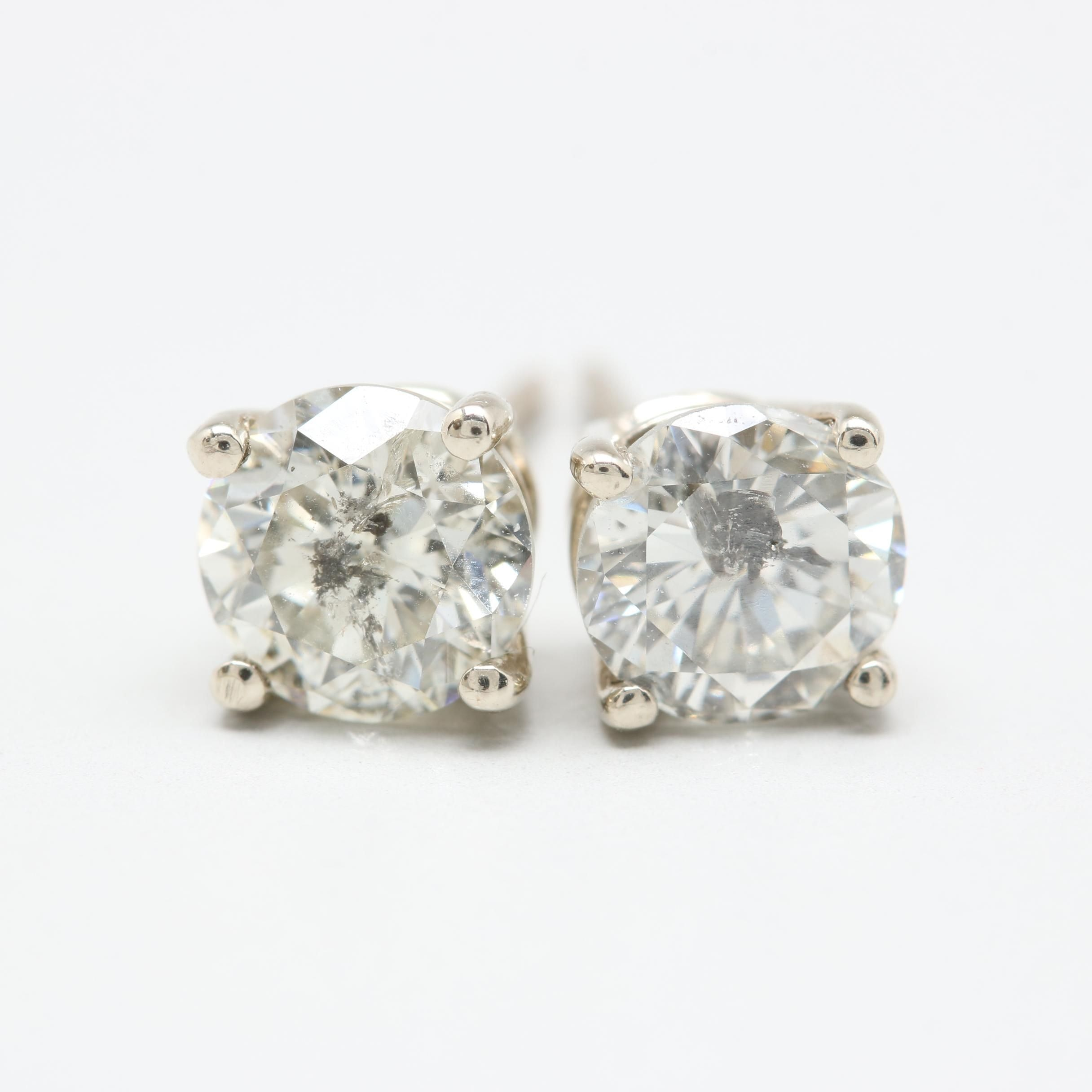 14K White Gold 1.25 CTW Diamond Stud Earrings