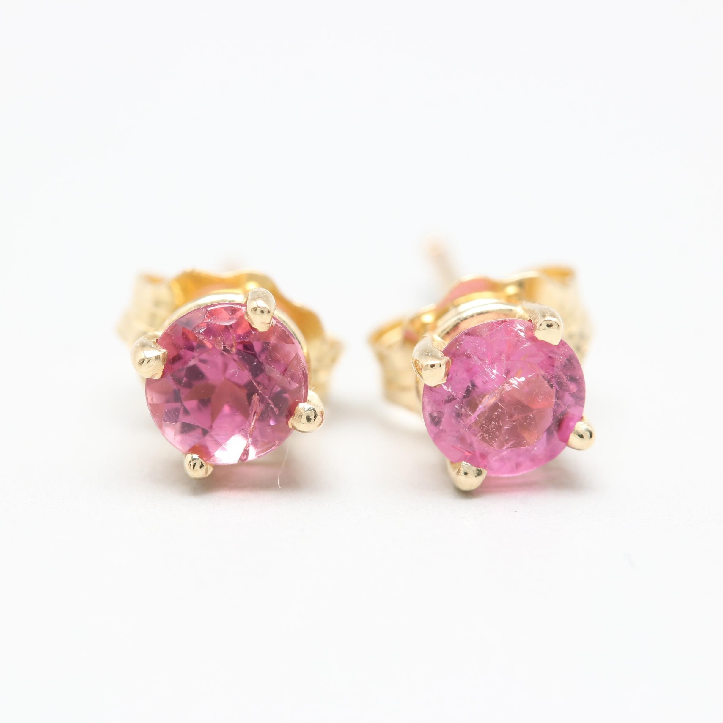 14K Yellow Gold Pink Tourmaline Stud Earrings