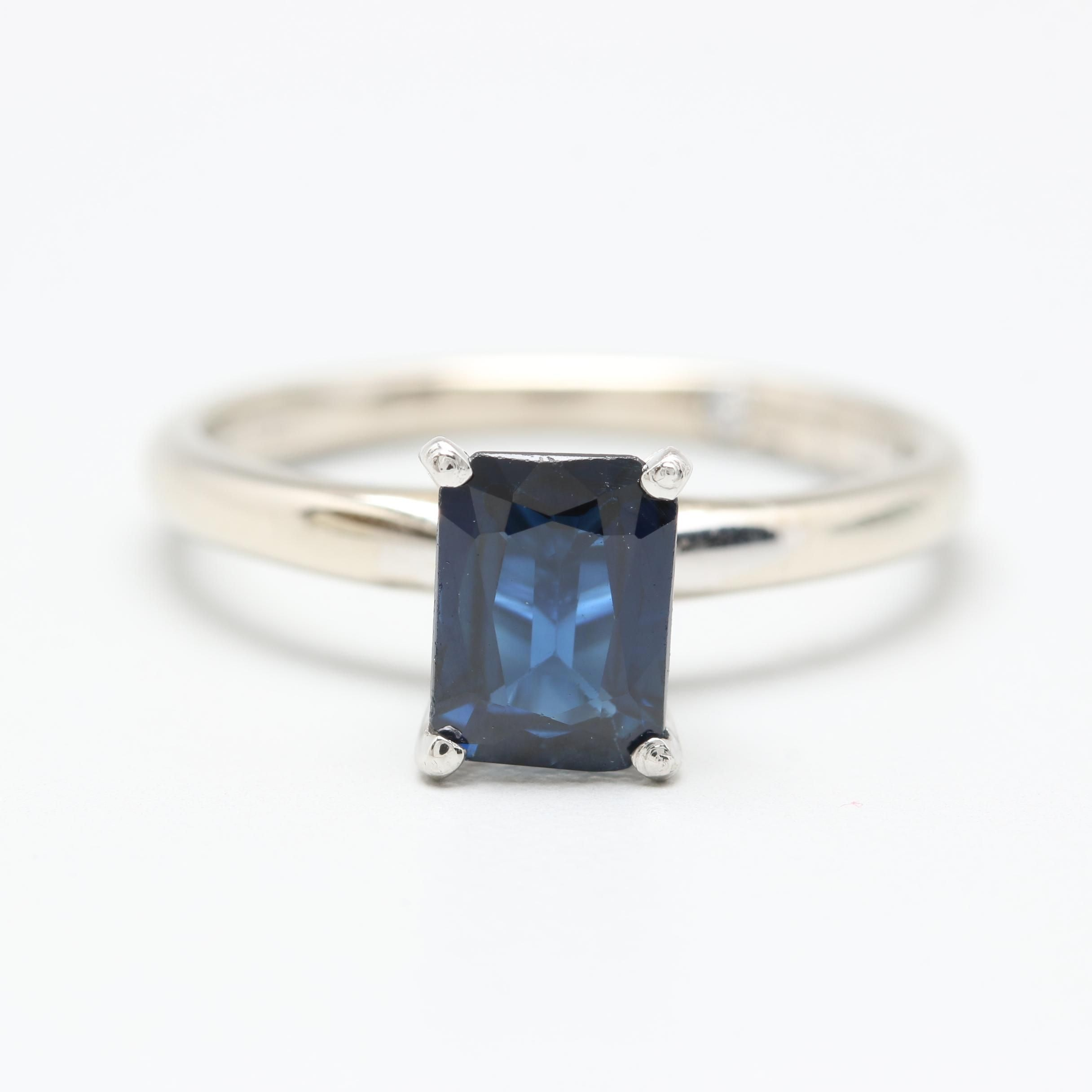 """The Leo"" 14K White Gold Blue Sapphire Solitaire Ring"