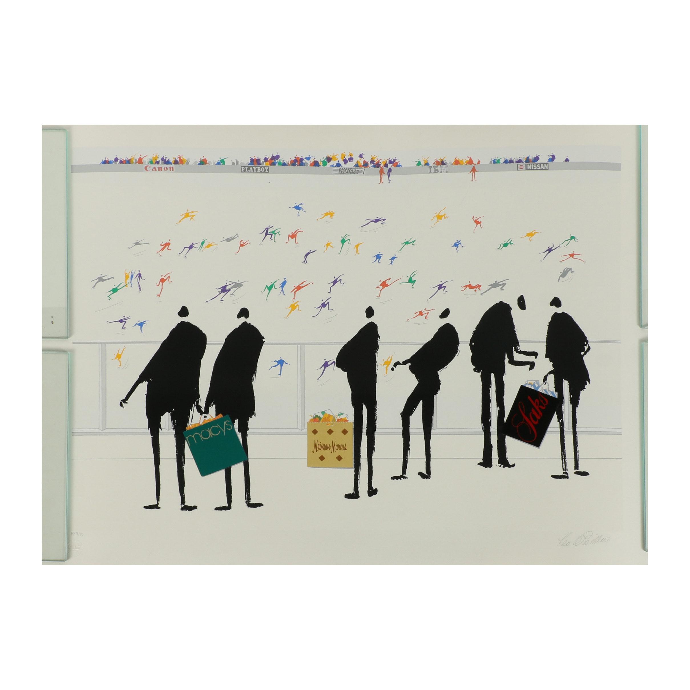 "Leo Posillico Embellished Serigraph ""Shoppers"""