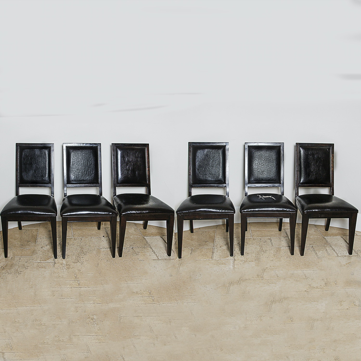 Contemporary Black Vinyl Upholstered Side Chairs by Bernhardt