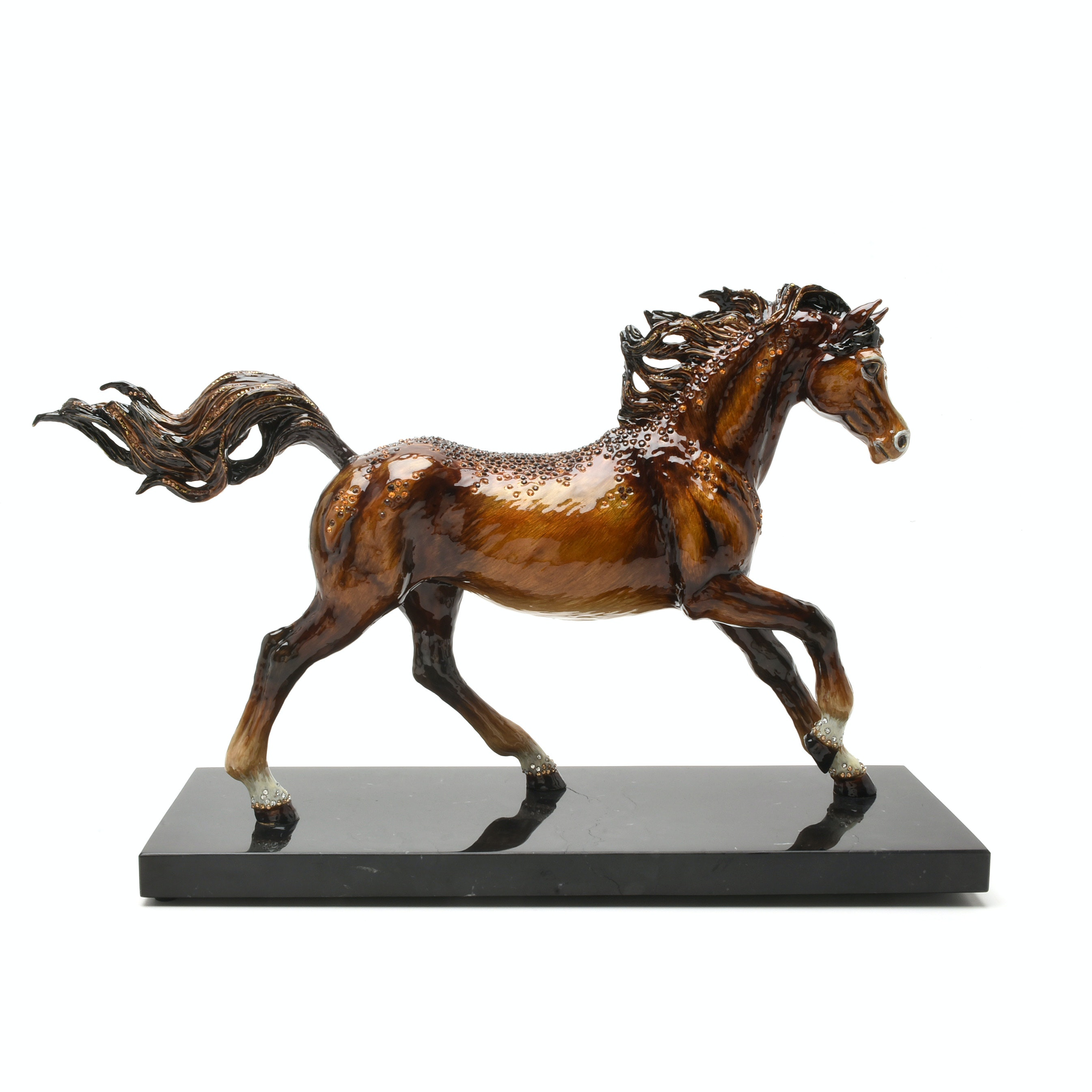 """Jay Strongwater """"Kuhaylah"""" Enameled Metal Horse Figurine with Marble Base"""